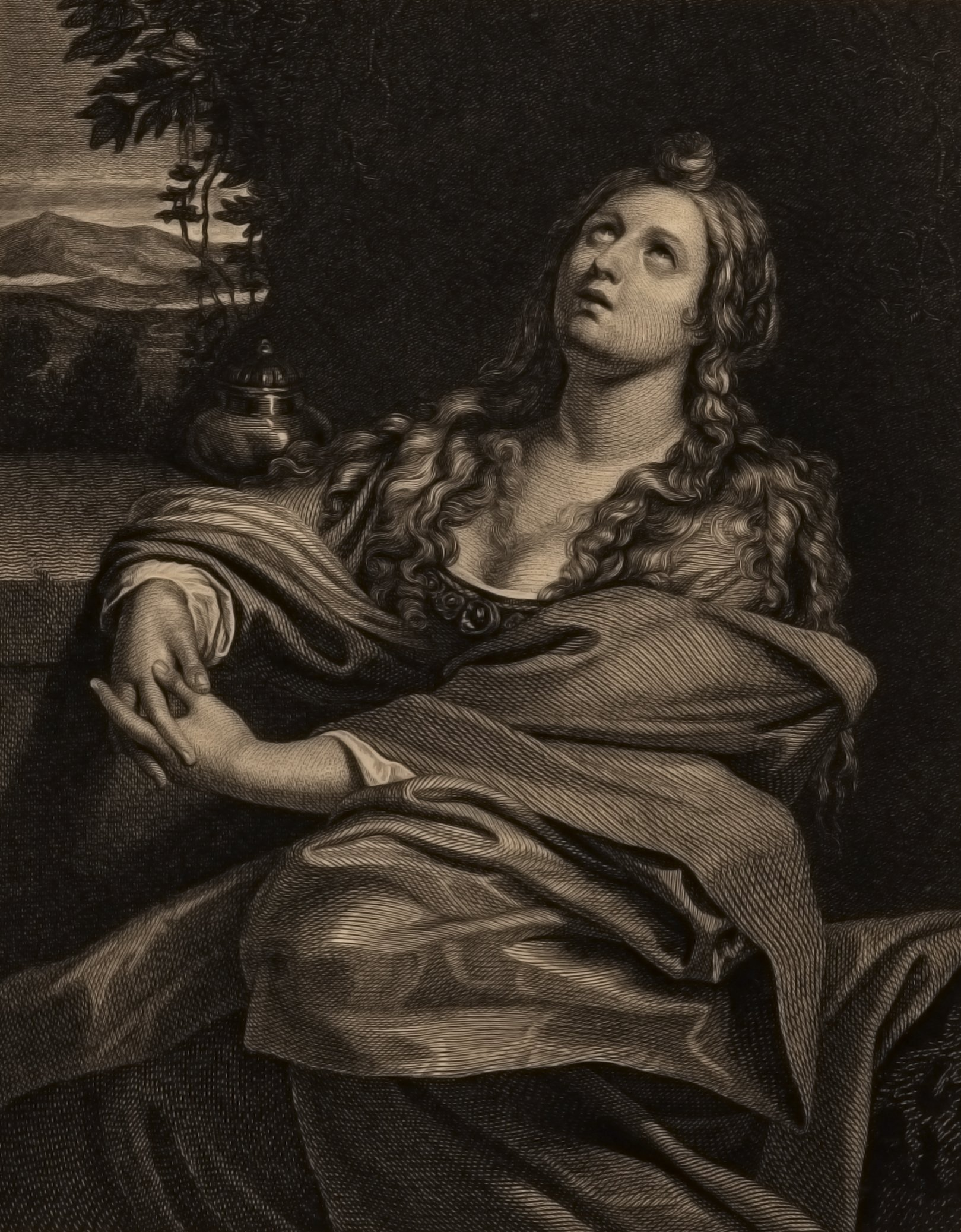 A 19th Century Engraving A Magdalen Demenichino Pinxit N. Schiavonetti Sculpsit