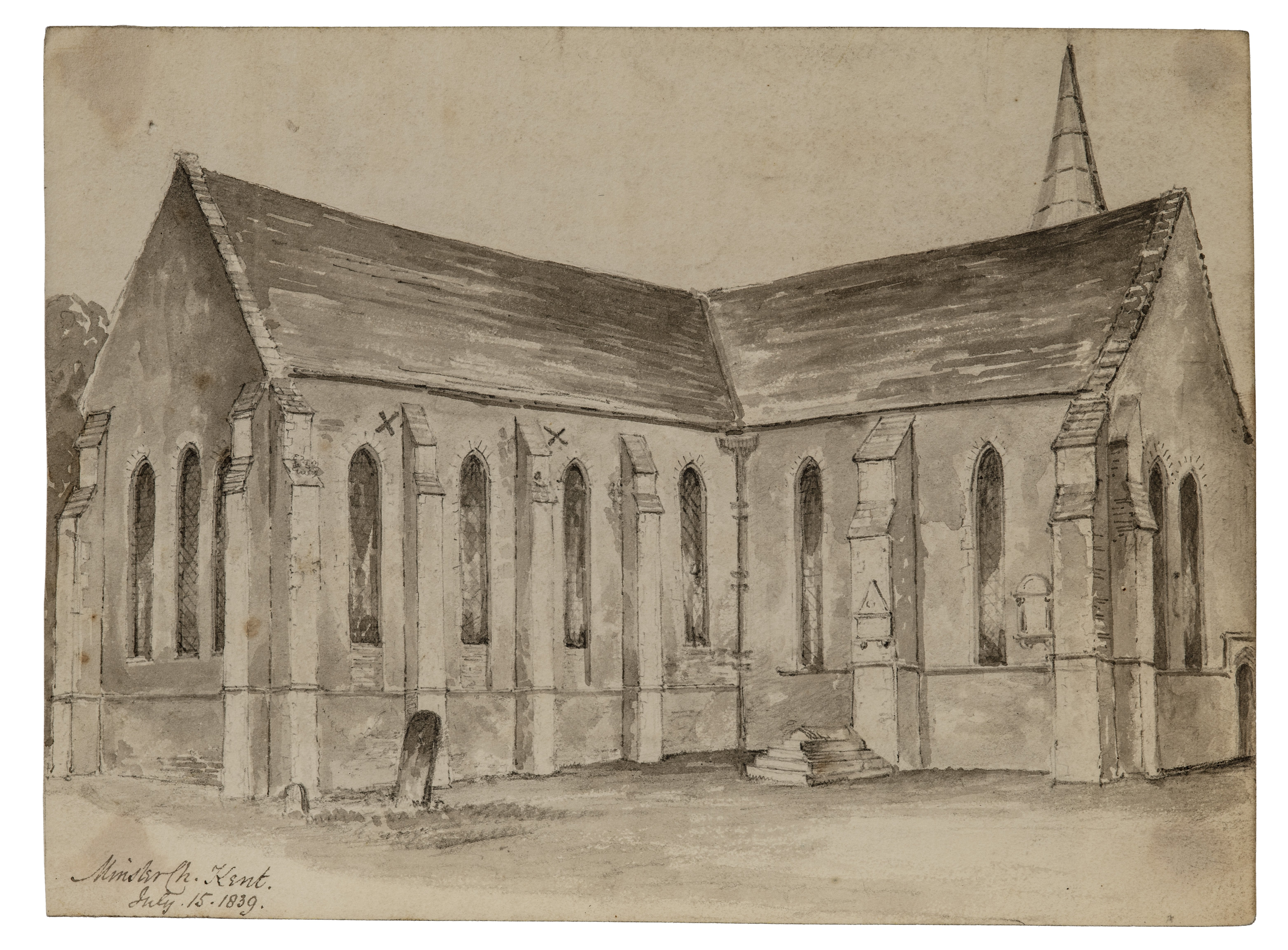 British School 19th Century Architectural Watercolor Study Minster Church Kent 1839