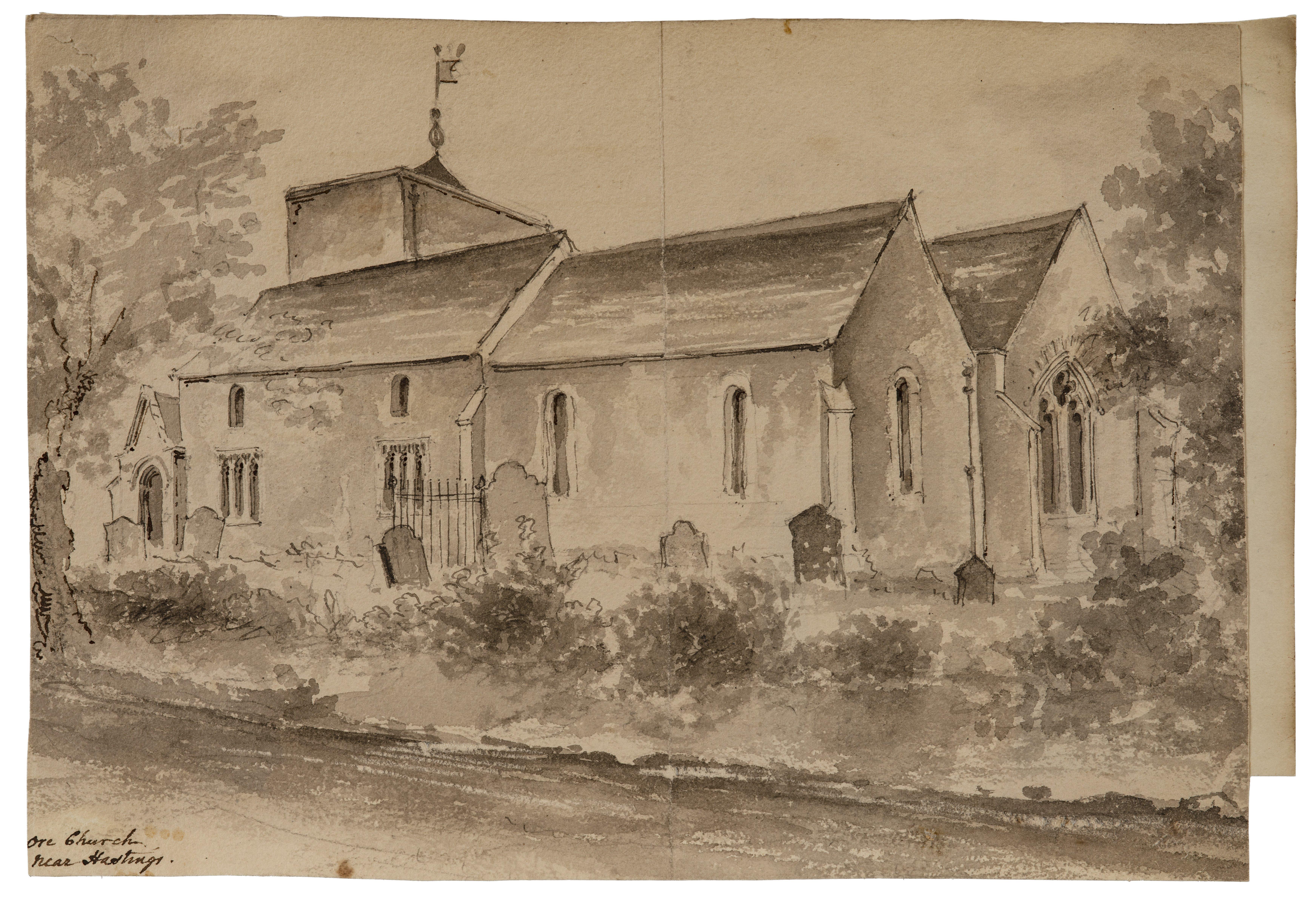 British School 18th/19th Century Architectural Watercolor Study Ore Church Near Hastings England