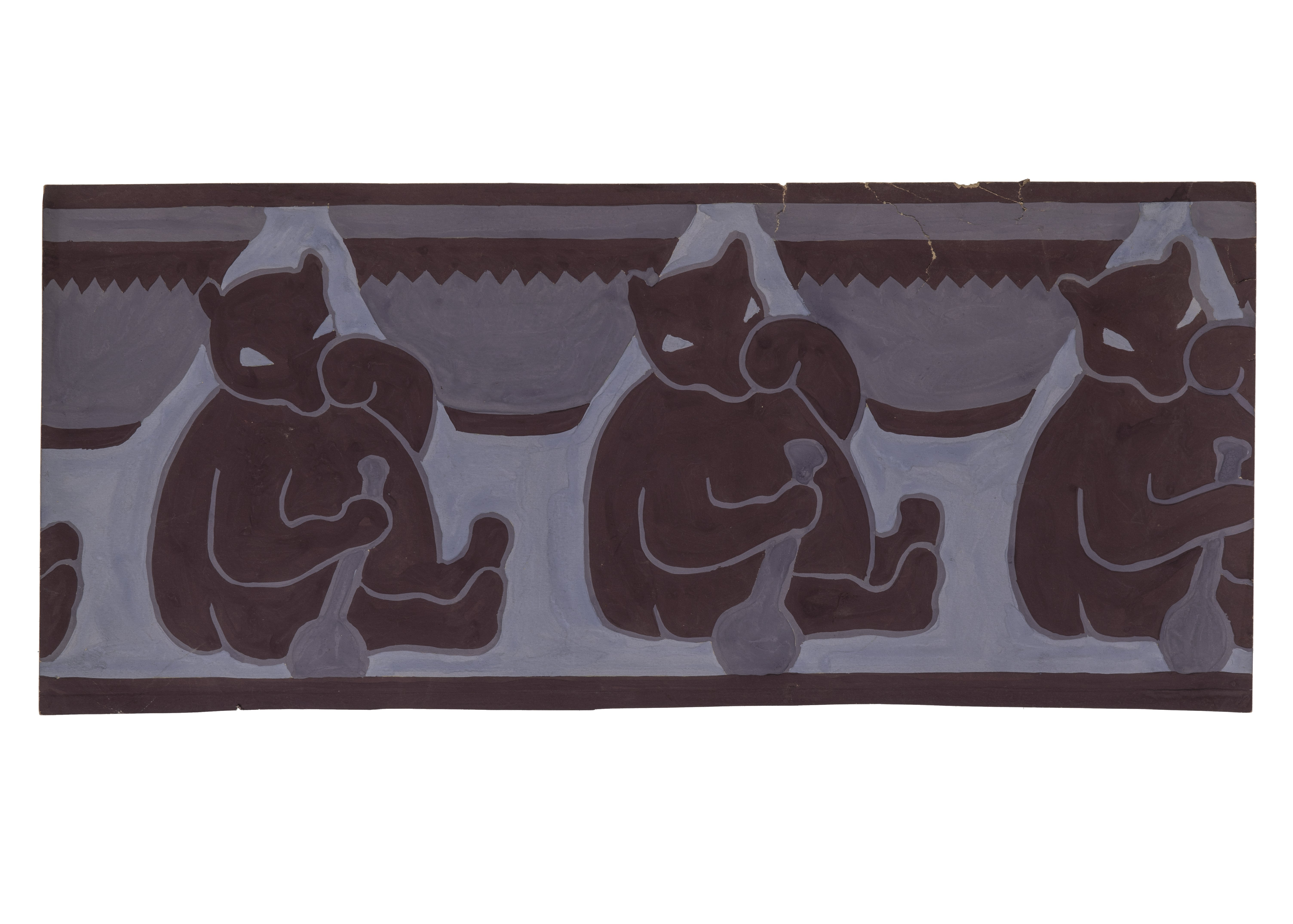 """An Antique Art Deco Hand Painted Wall Paper Motif Panel """"Three Bears"""""""
