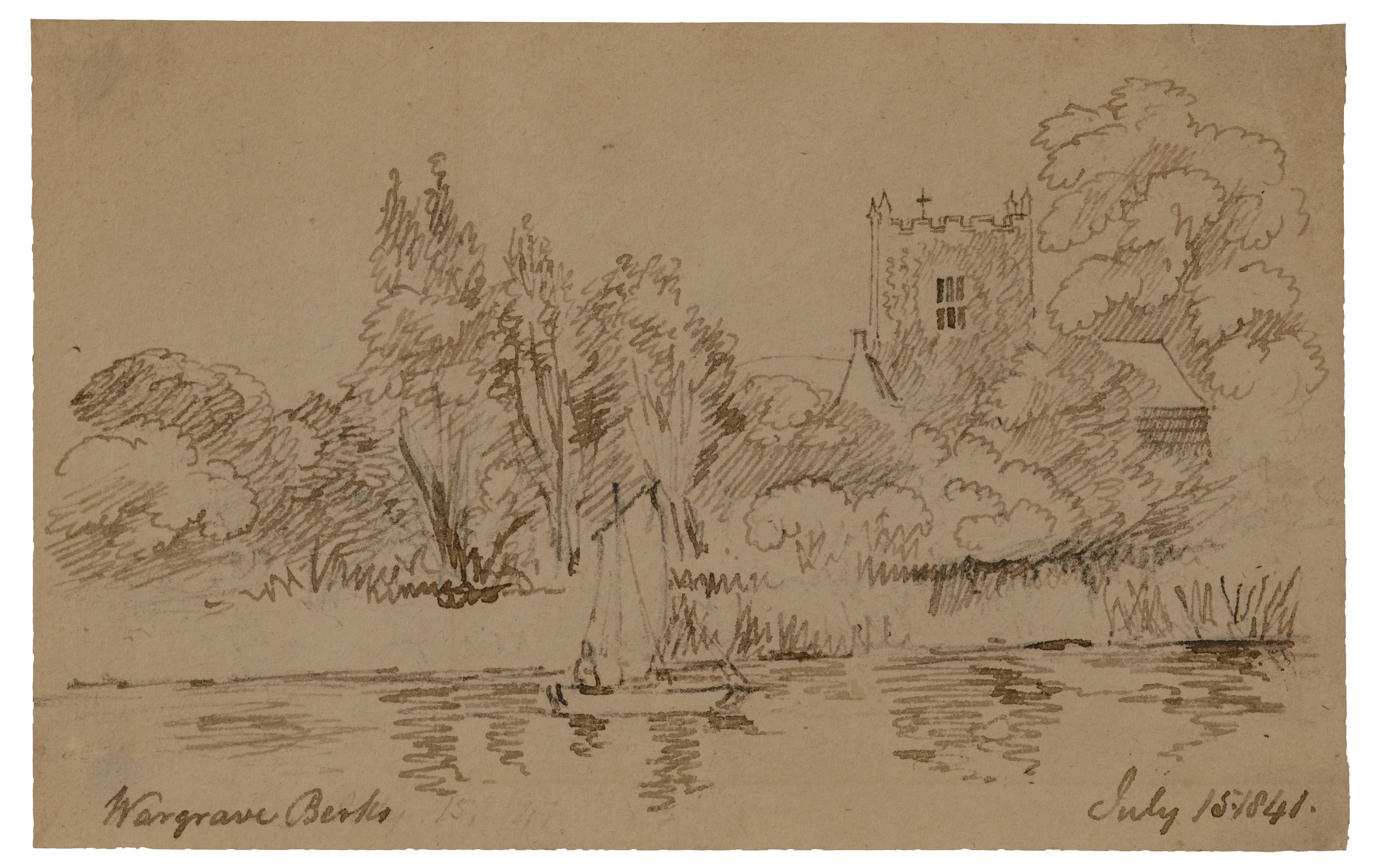 British School  Landscape Study Wargrave Berks July 1841