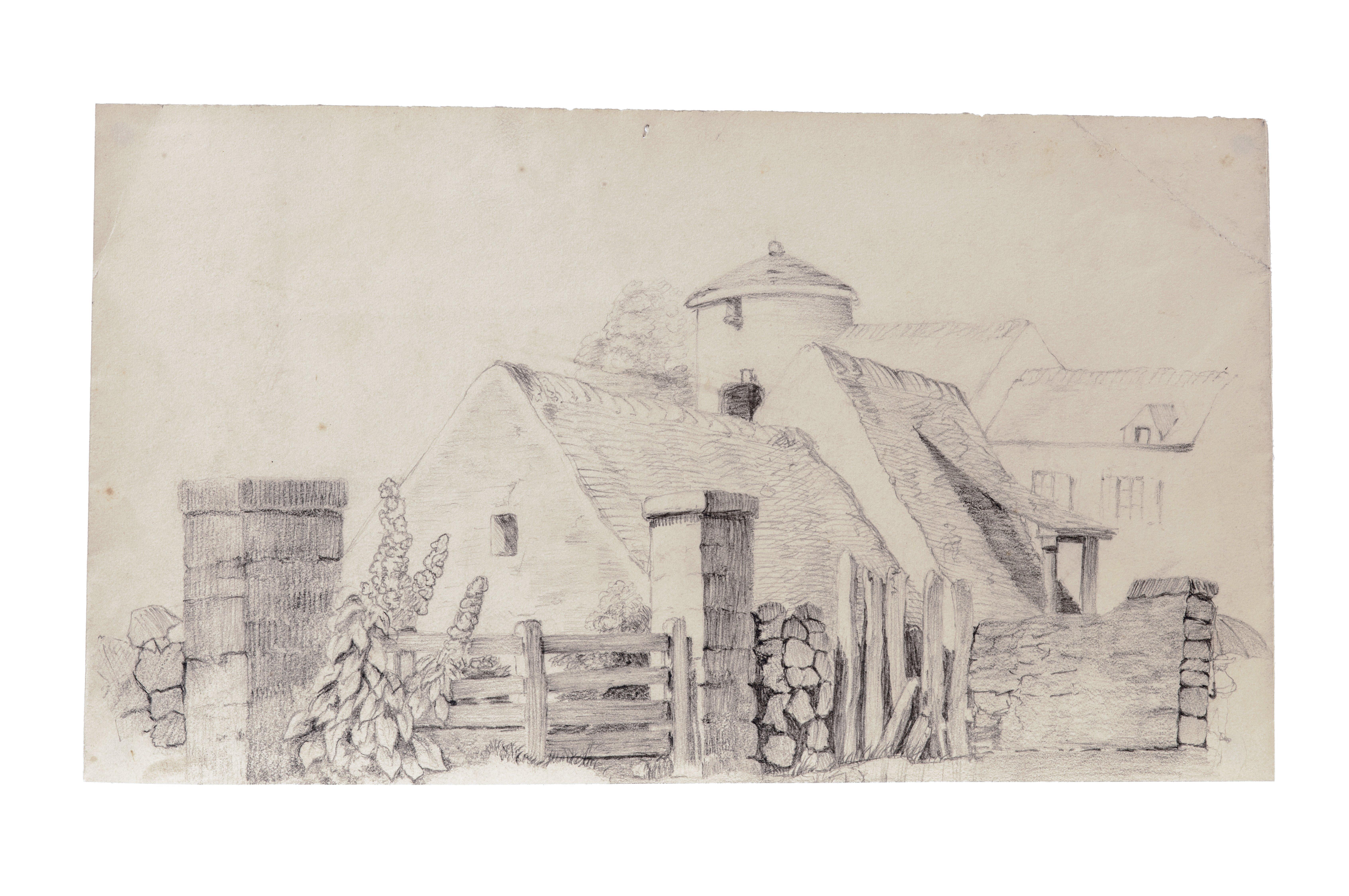 A 19th Century English Primitive Farm Scene Drawing
