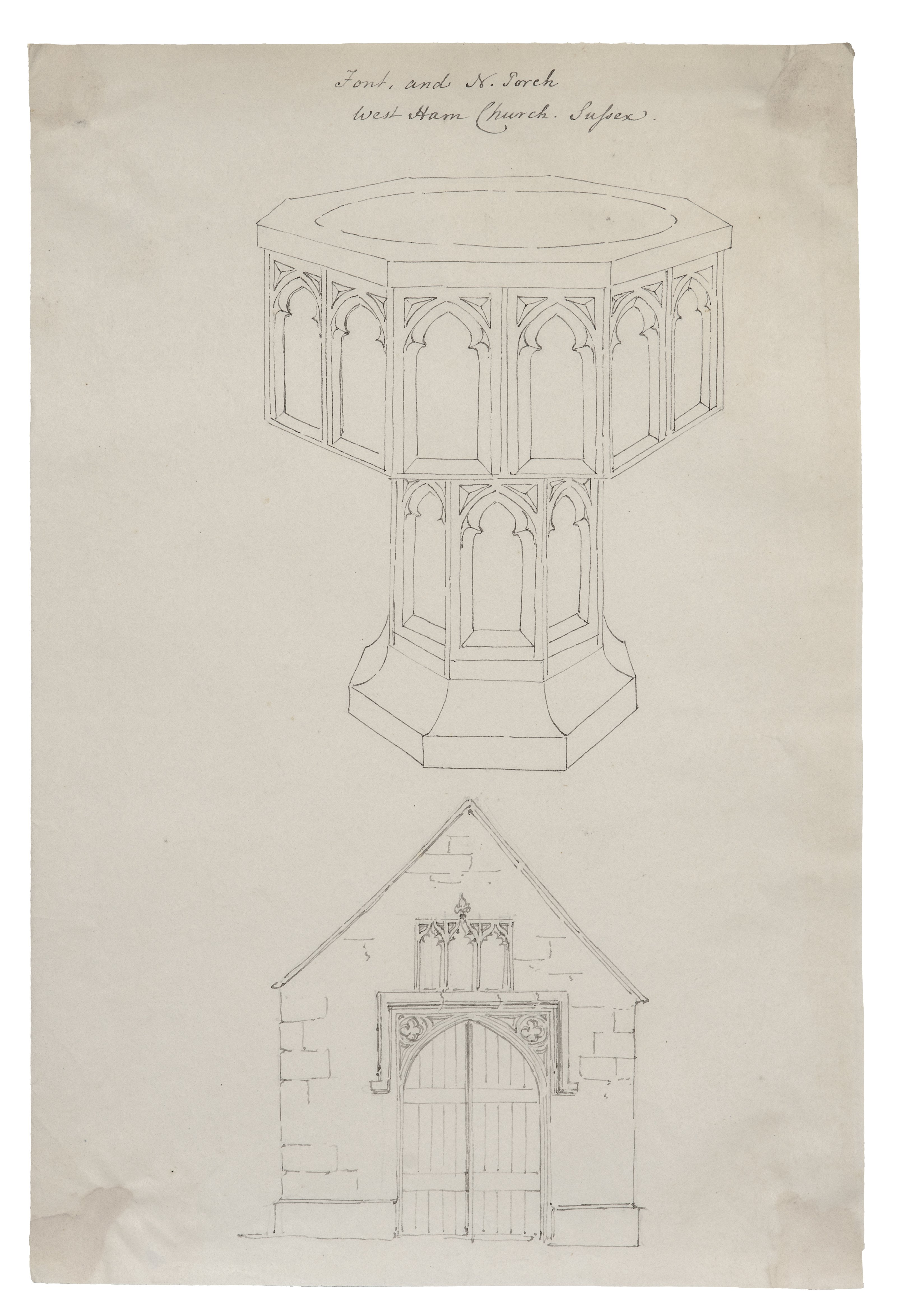 An 18th-19th Century British Architectural Study Drawing Font and N. Torch Westham Church Sussex