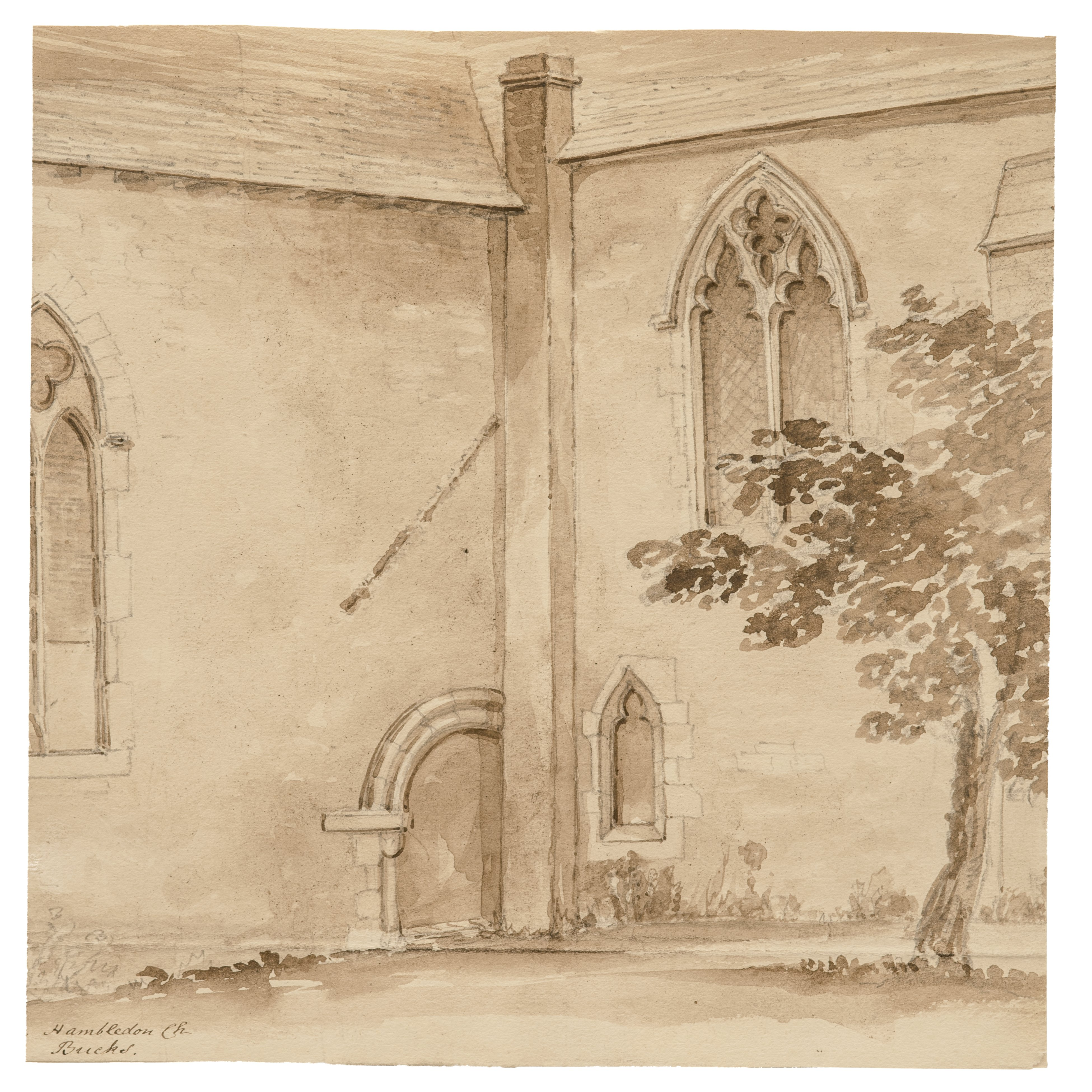An 18th-19th Century British School Ink Study Drawing Hambleton Church, Berkshire England