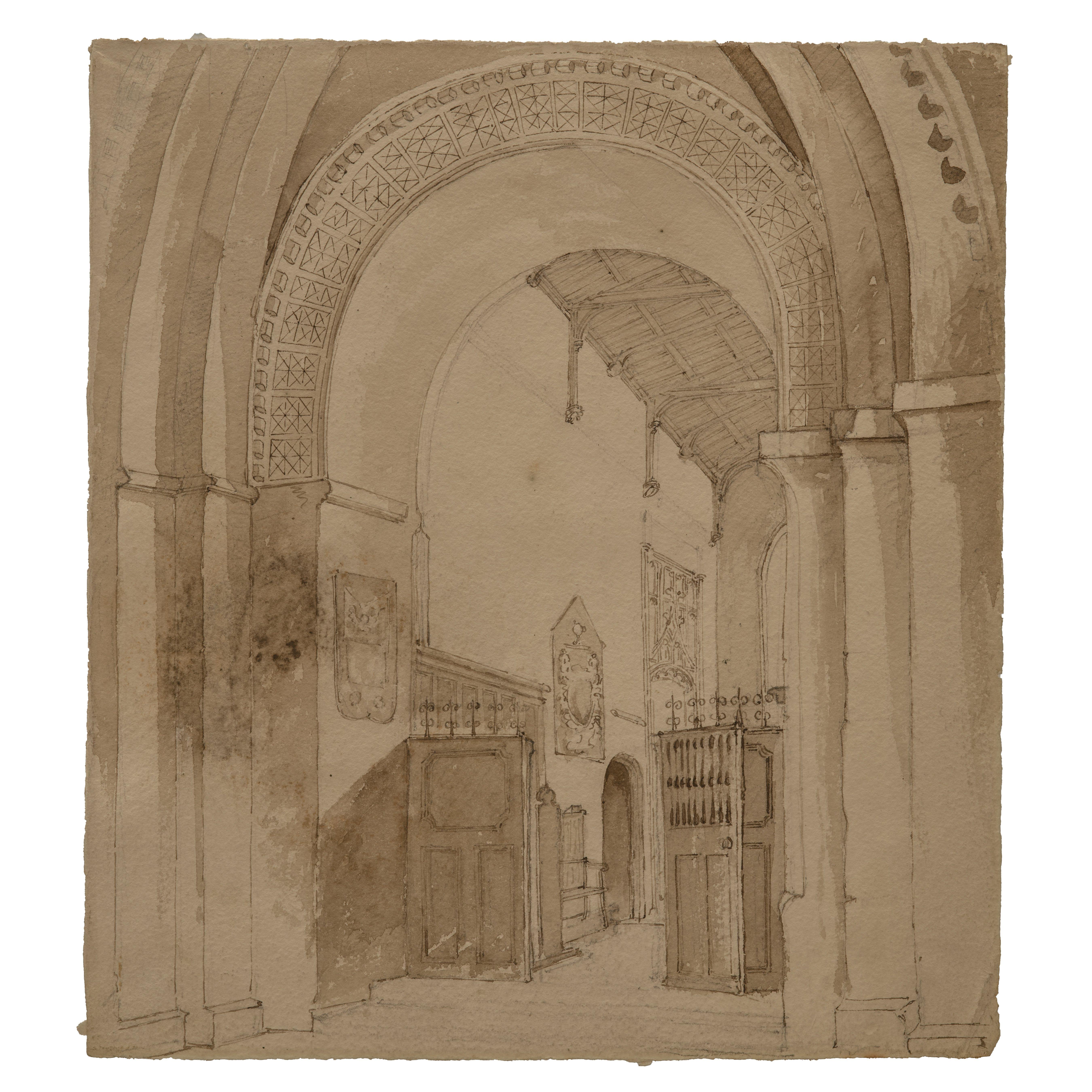 A Late 18th Century Northern European School Interior Scene Drawing