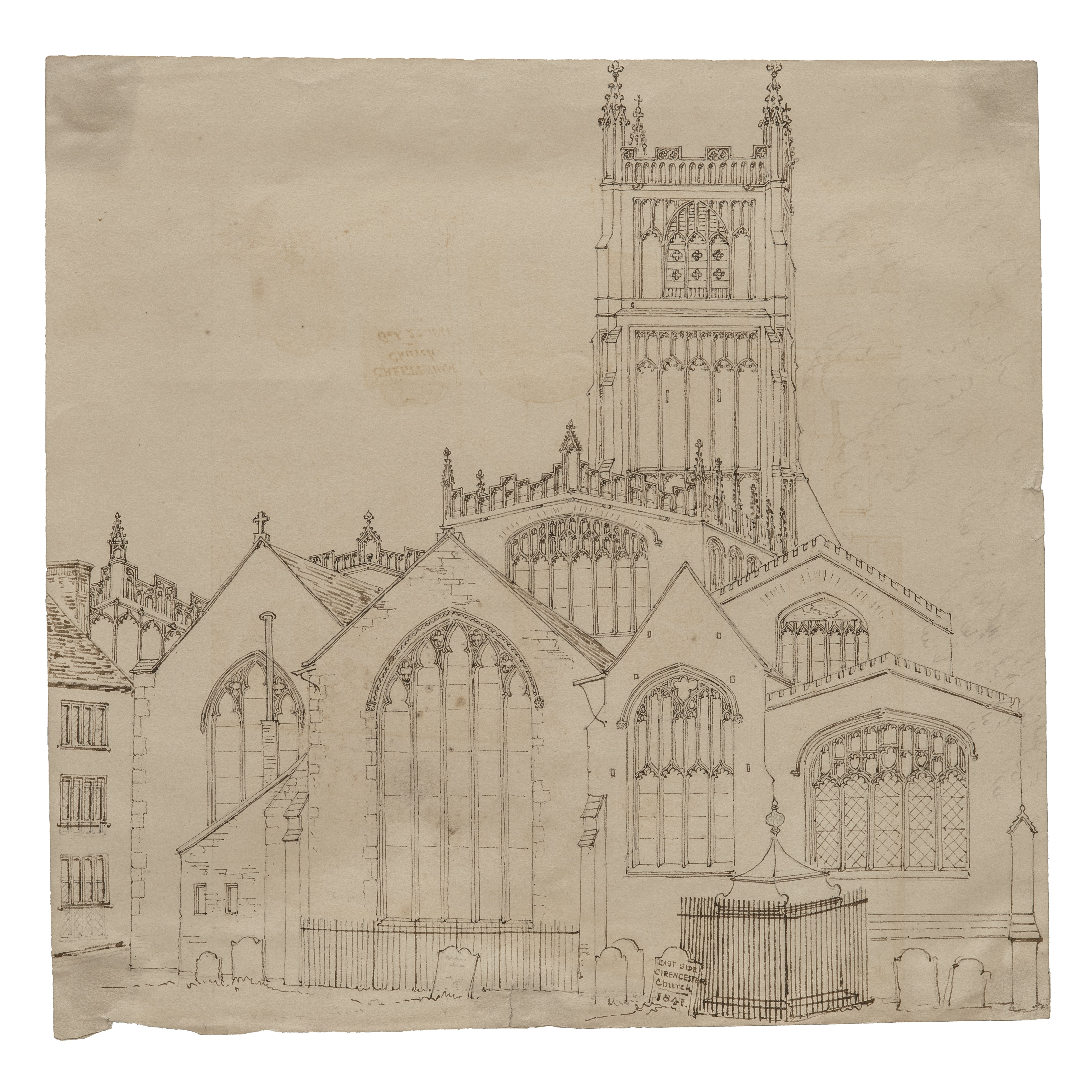 A 19th Century British School Ink Drawing East Side Cirencester Church 1841