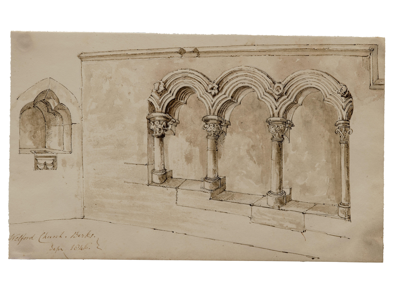 Welford Church Berks Sep 1846 British School 19th Century Ink Drawing