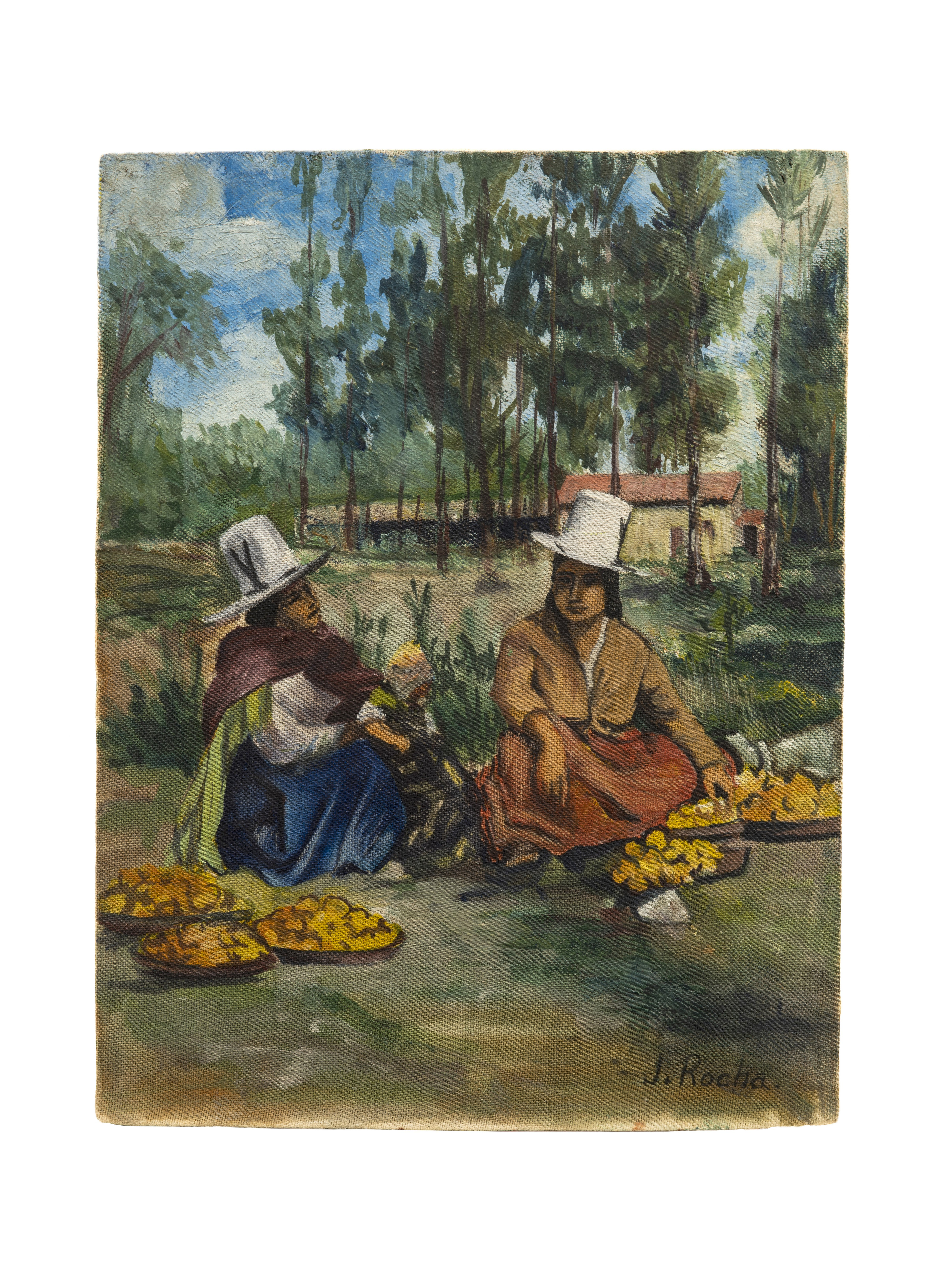 A Vintage South American Traditional Landscape Painting By Jose Rocha
