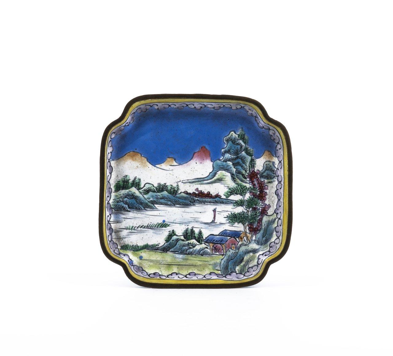 An Antique Chinese Canton Enamel Square Landscape Dish