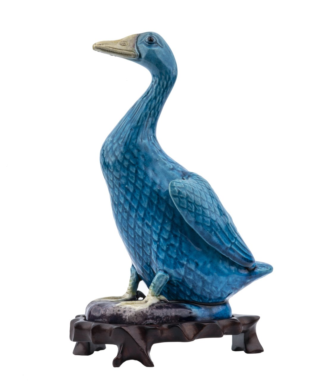 A Vintage Chinese Turquoise Kangxi Style Glazed Pottery Model Of A Duck