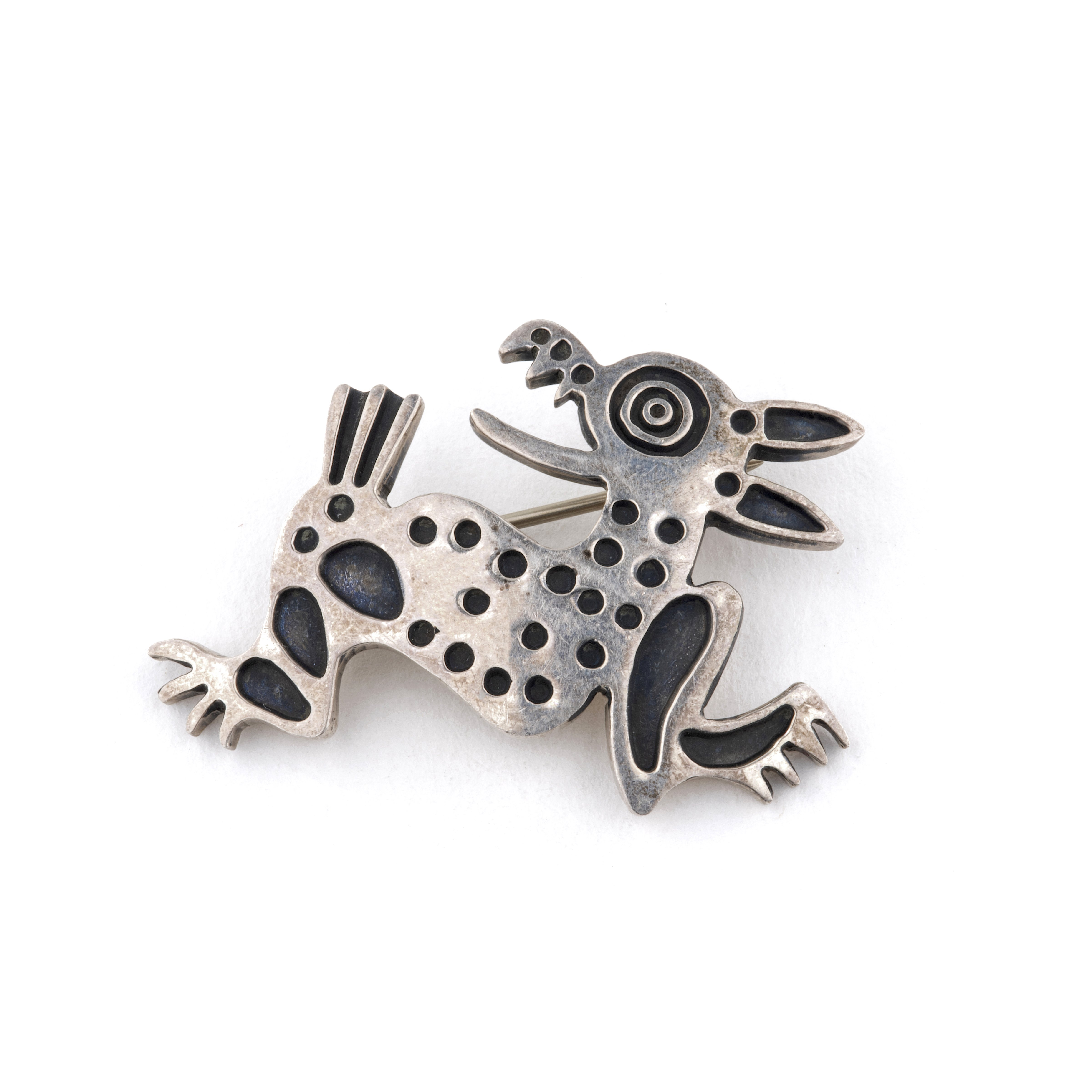 A Vintage Mexican Sterling Silver 925 Folk Art Crazy Dog Pin