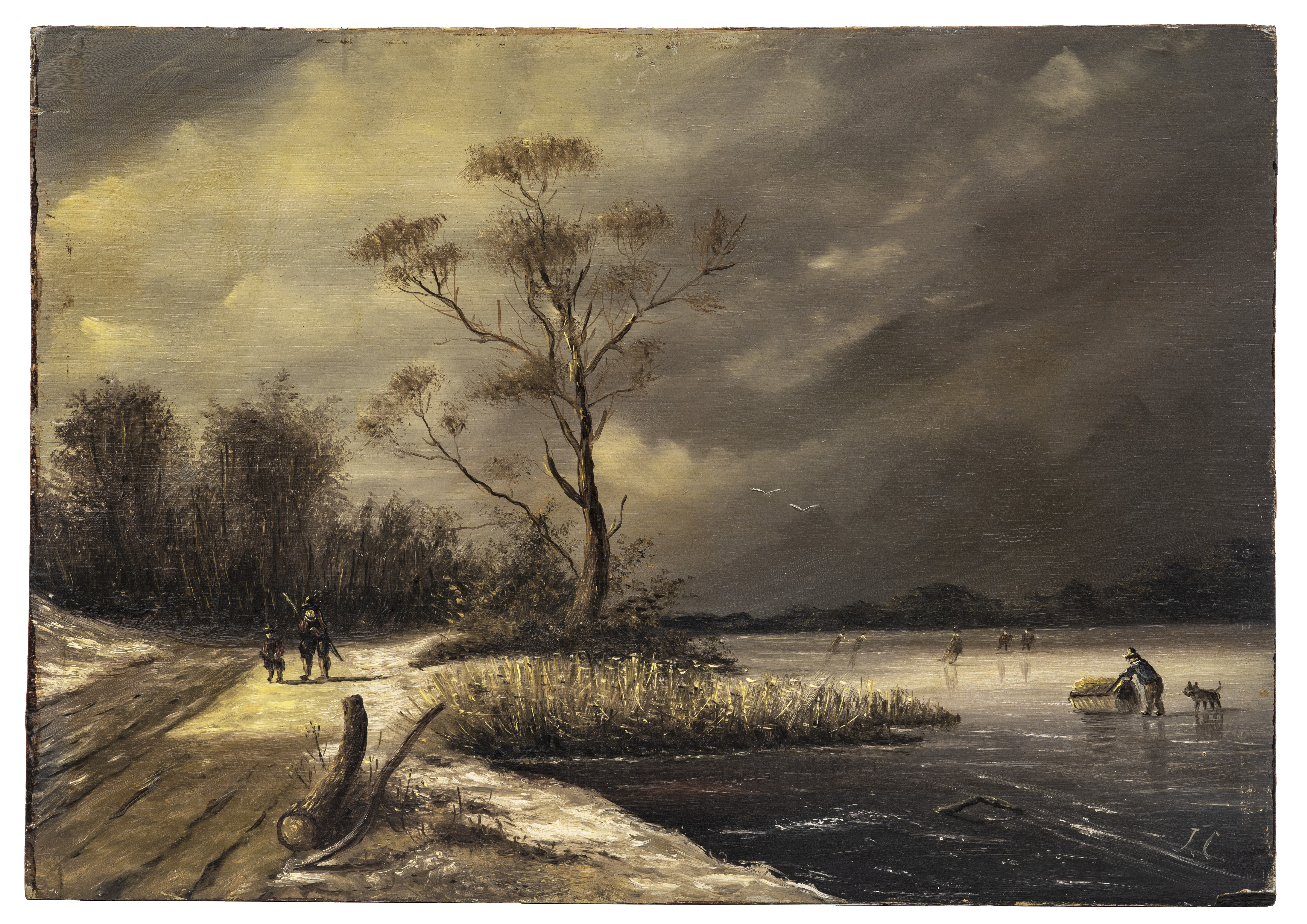 A Dutch Master Landscape Painting Attributed To Jan Jacob Coenraad Spohler 1837-1923 Winter Scene