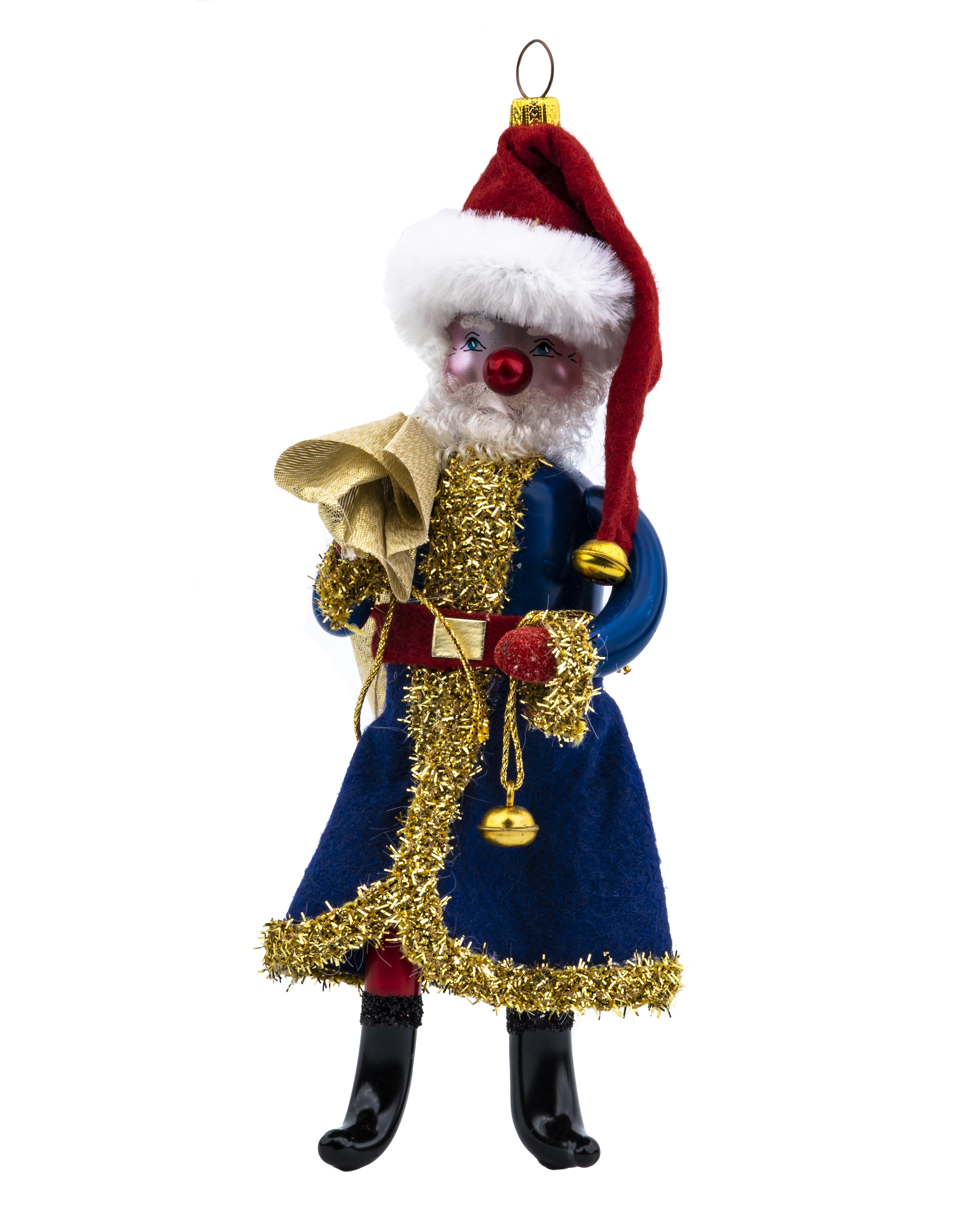 An Italian Blue Hand Blown Glass Santa Claus Christas Tree Ornament