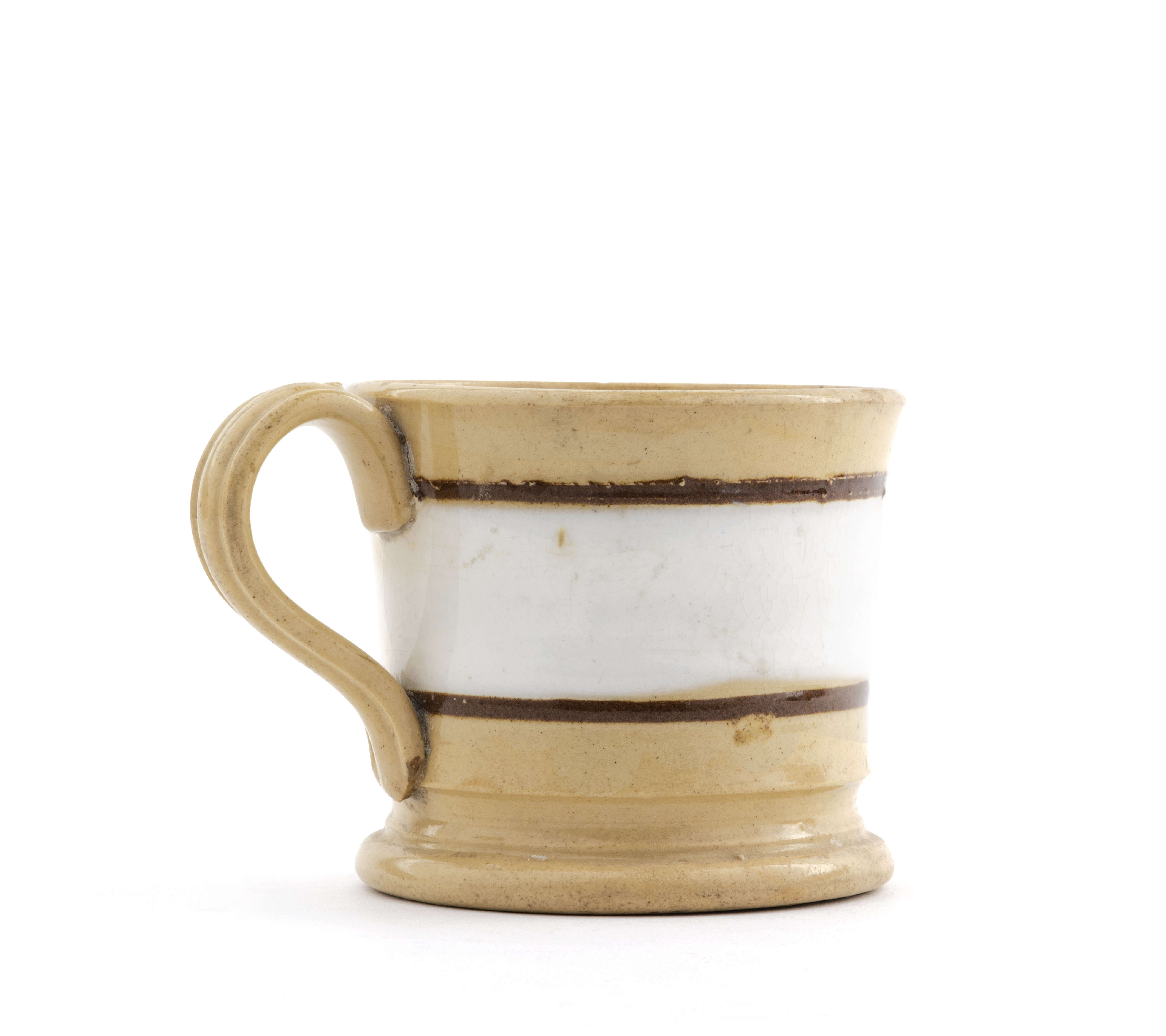 An Antique 19th Century Red & White Banded Yellowware Mug