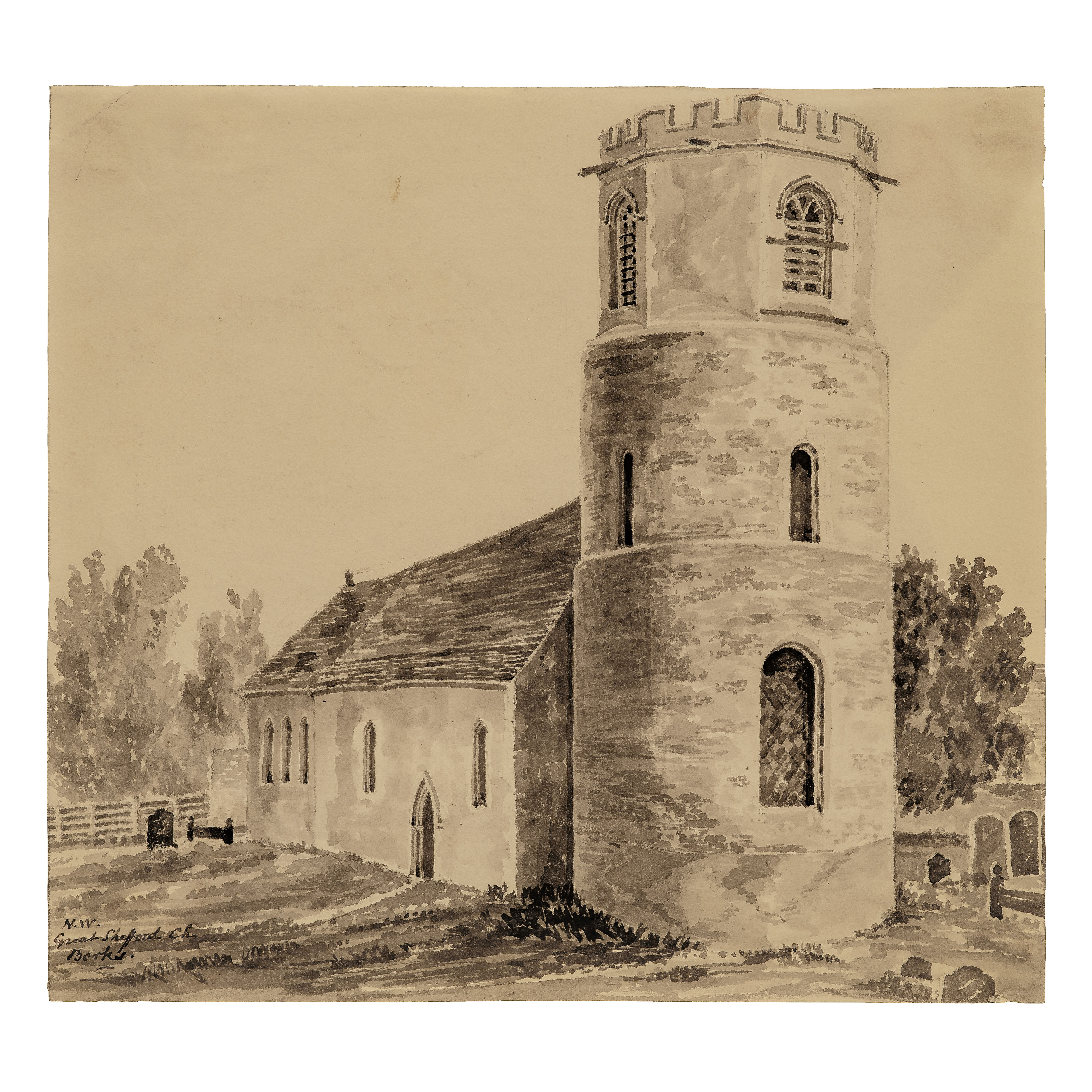 A British School 18th Century Watercolor Great Shefford Church Berks