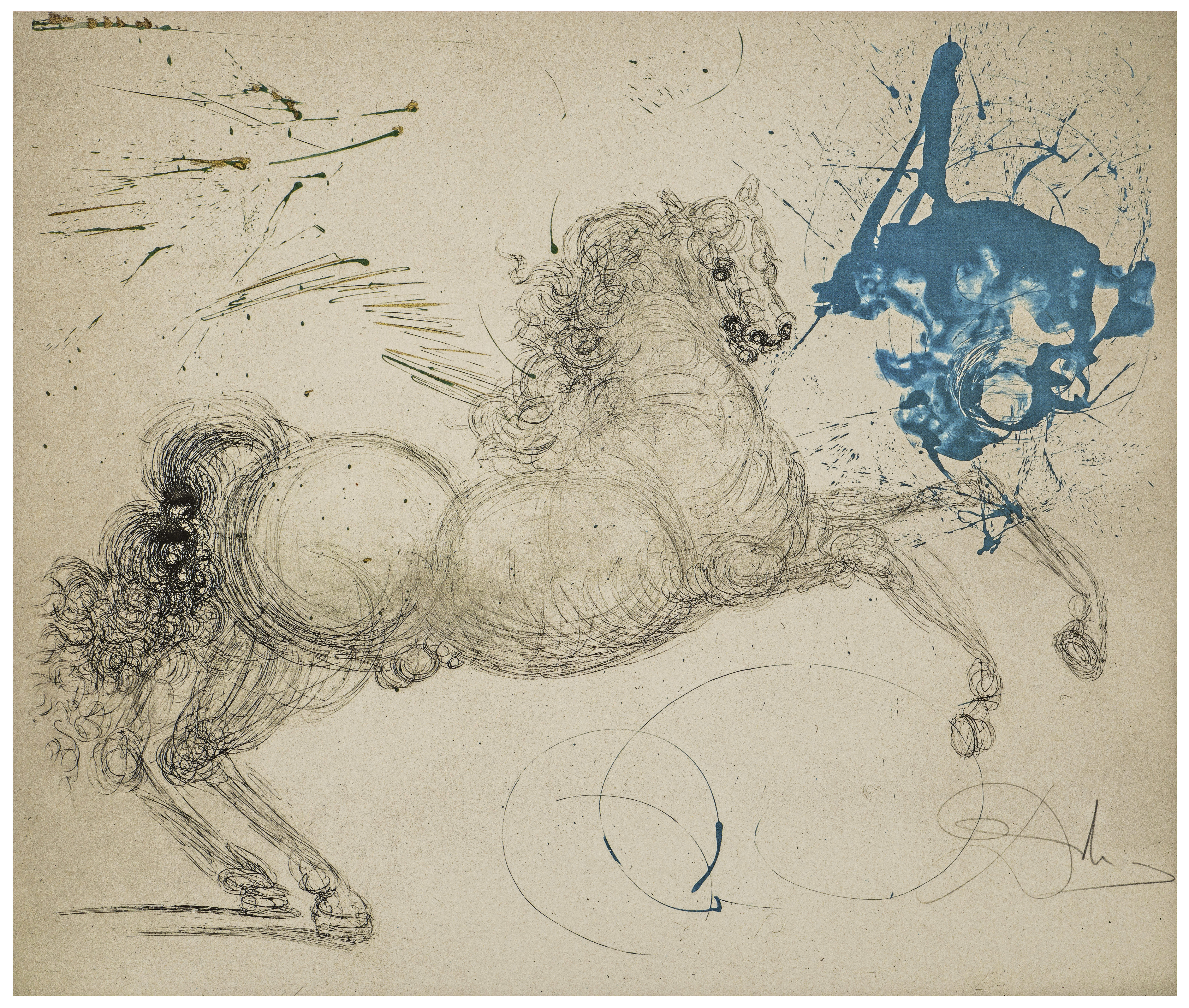 A Vintage Salvador Dali Etching Pegasus From Mythologie