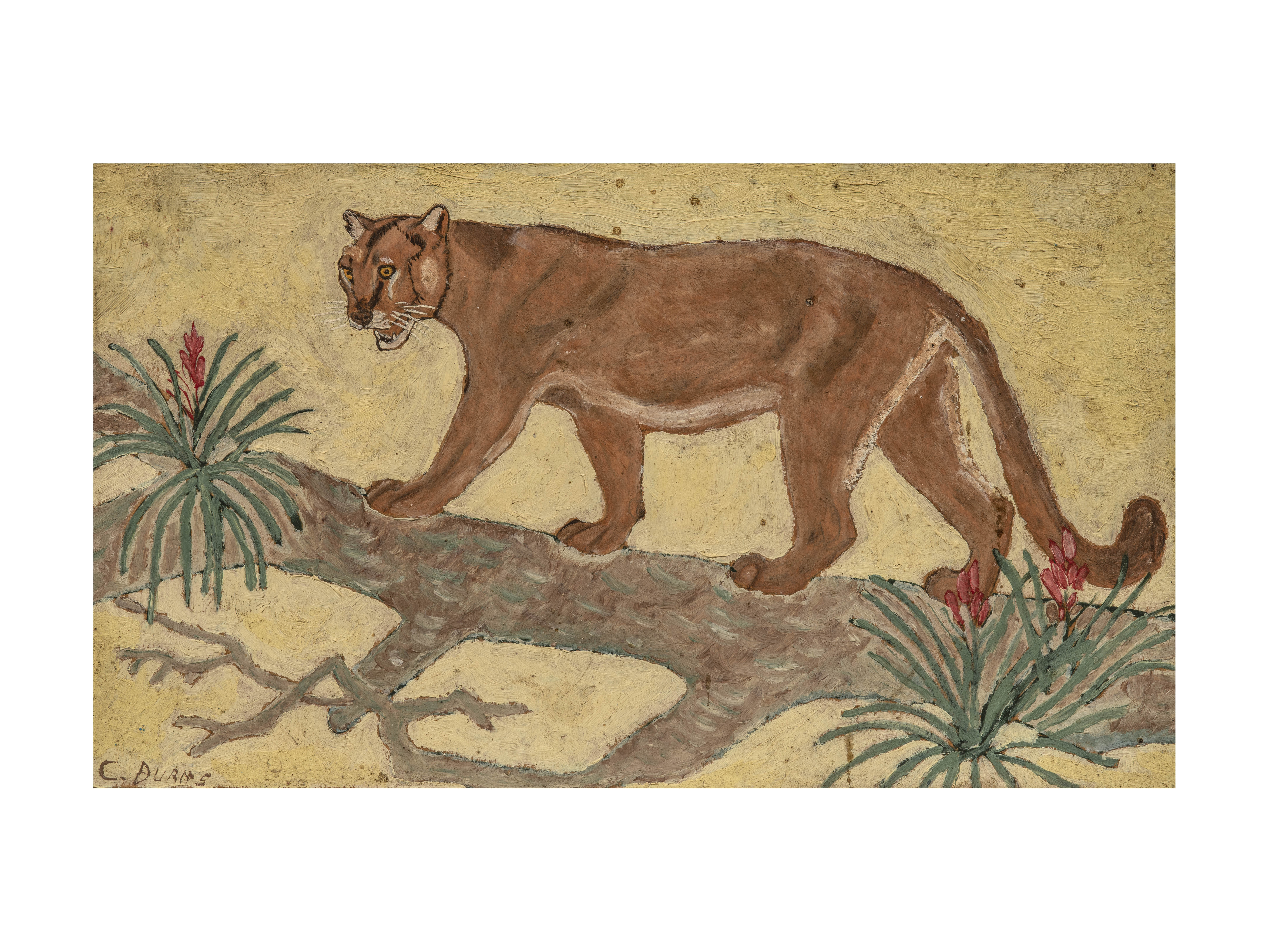 A Vintage Wall Art Painting Jungle Lion