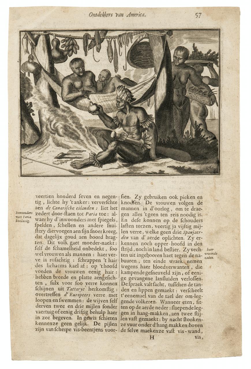 An Antique Print Ontdekkers Van America 17th Century Engraving By Arnoldus Montanus