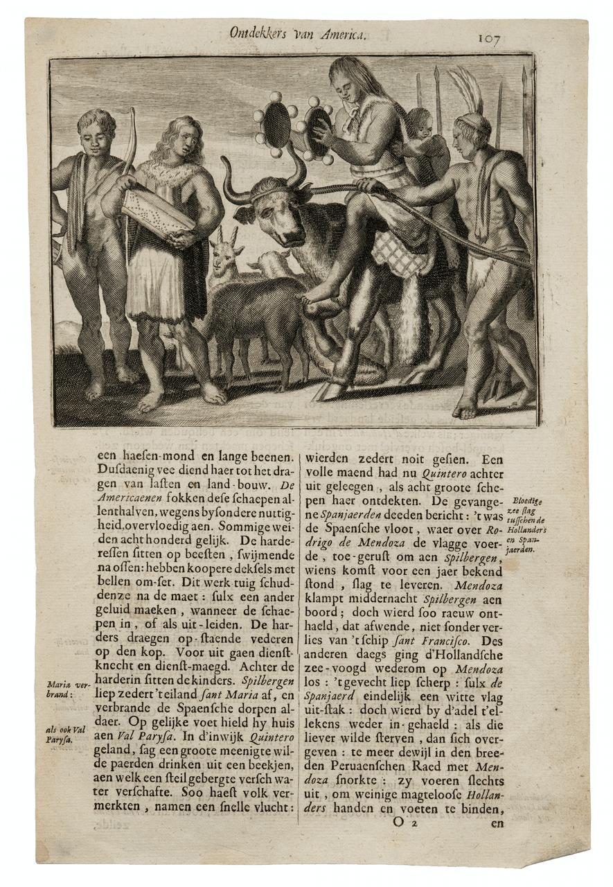 Antique Print Ontdekkers Van America 17th Century Engraving By Arnoldus Montanus