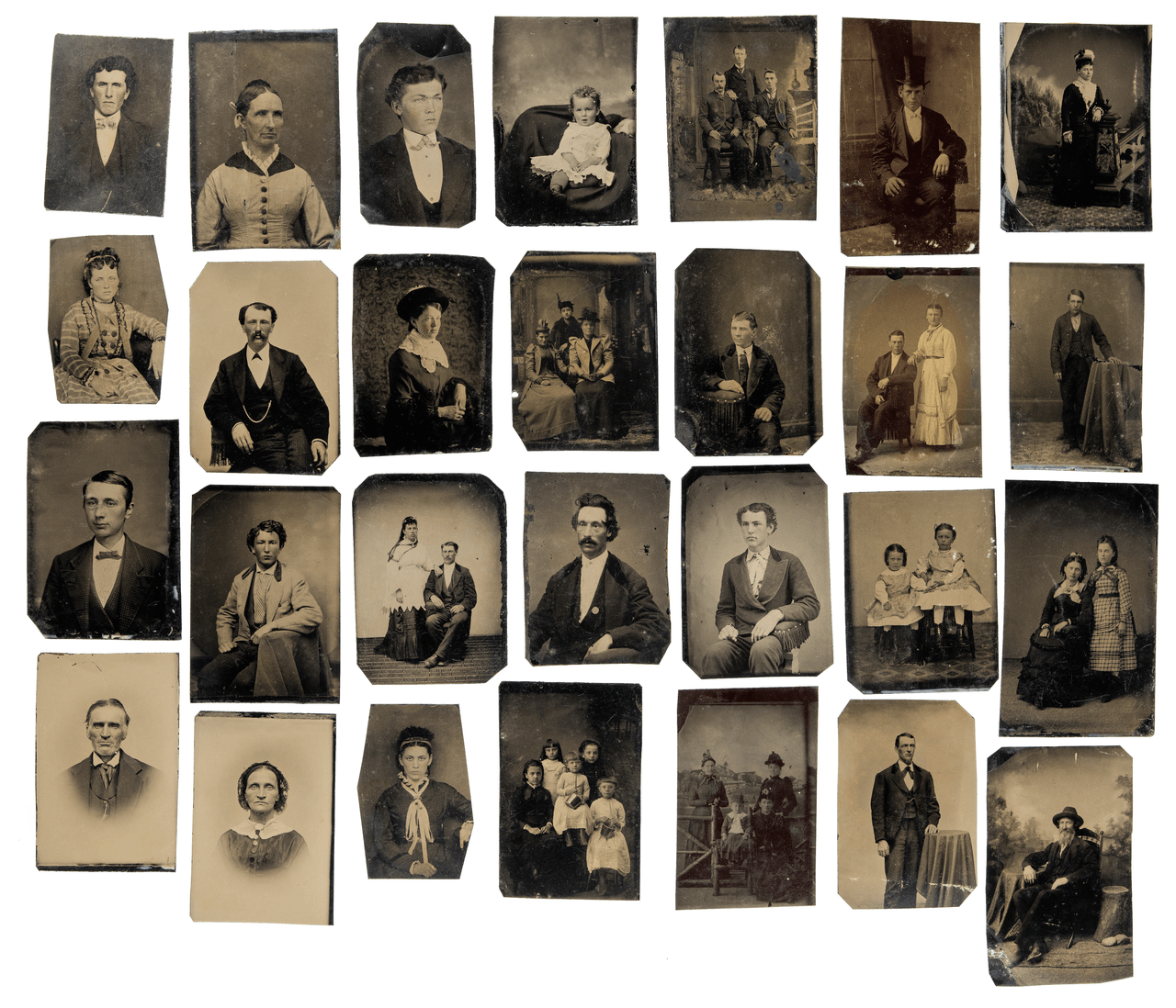 A Collection of 28 Antique Tintype Portraits