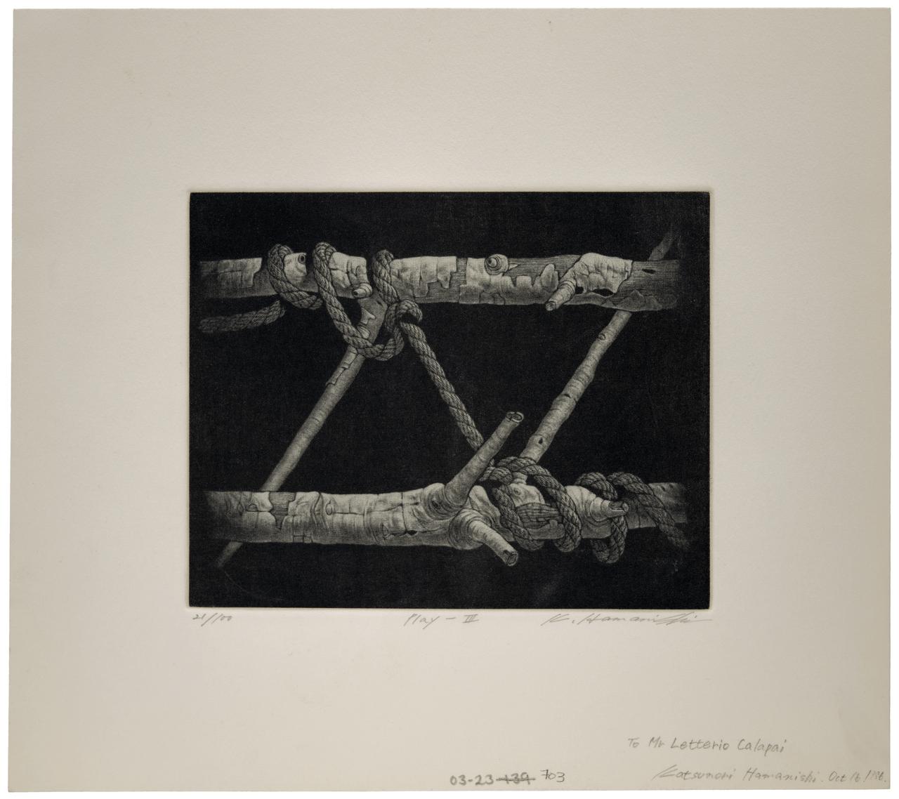 """Katsunori Hamanishi b. 1949) """"Play III"""" Japanese Contemporary Mezzotint"""
