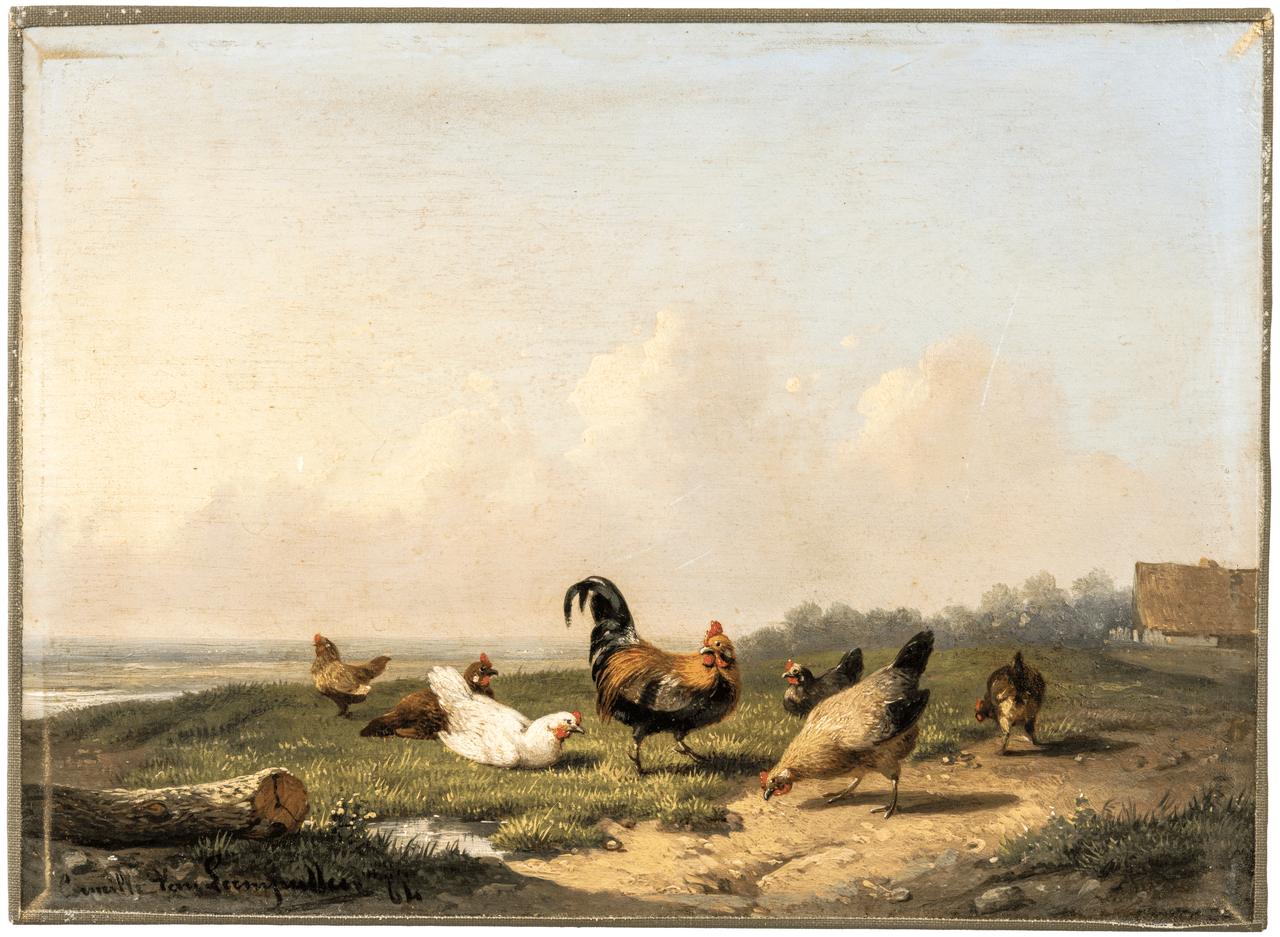 Cornelis Van Leemputten Oil Painting 1841-1902 Rural Farm Scene Of Roosters