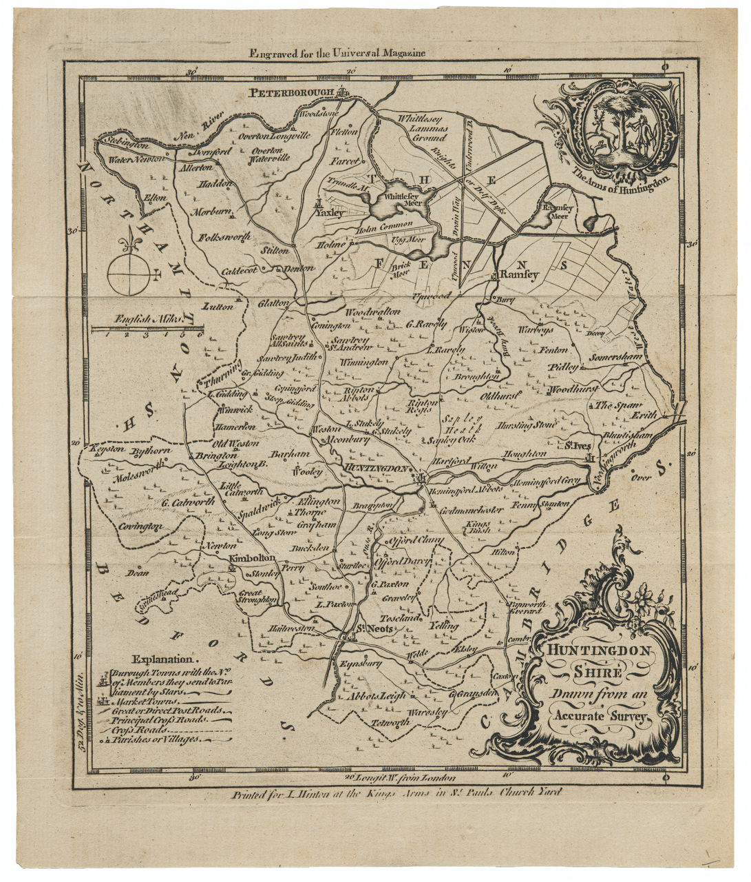 An Antique Engraved Map of Huntingdonshire Printed For L. Hinton Kings Arms