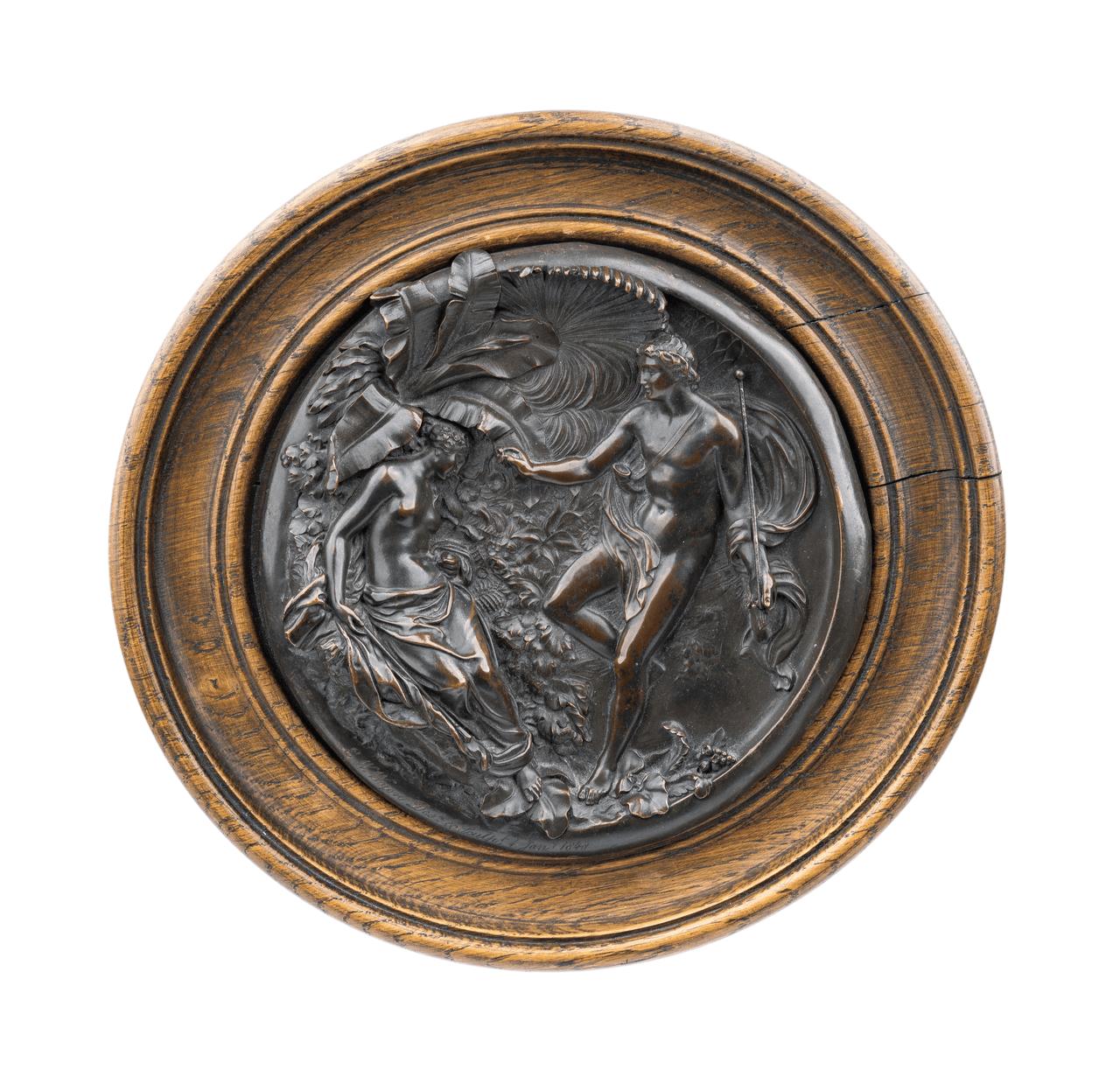 A Mounted Antique E.W. Wyon Bronze Plaque Adam & Eve 1848