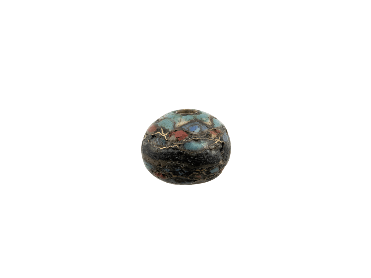 An Antique Japanese Primitive Enamel Cloisonné Ojime Bead