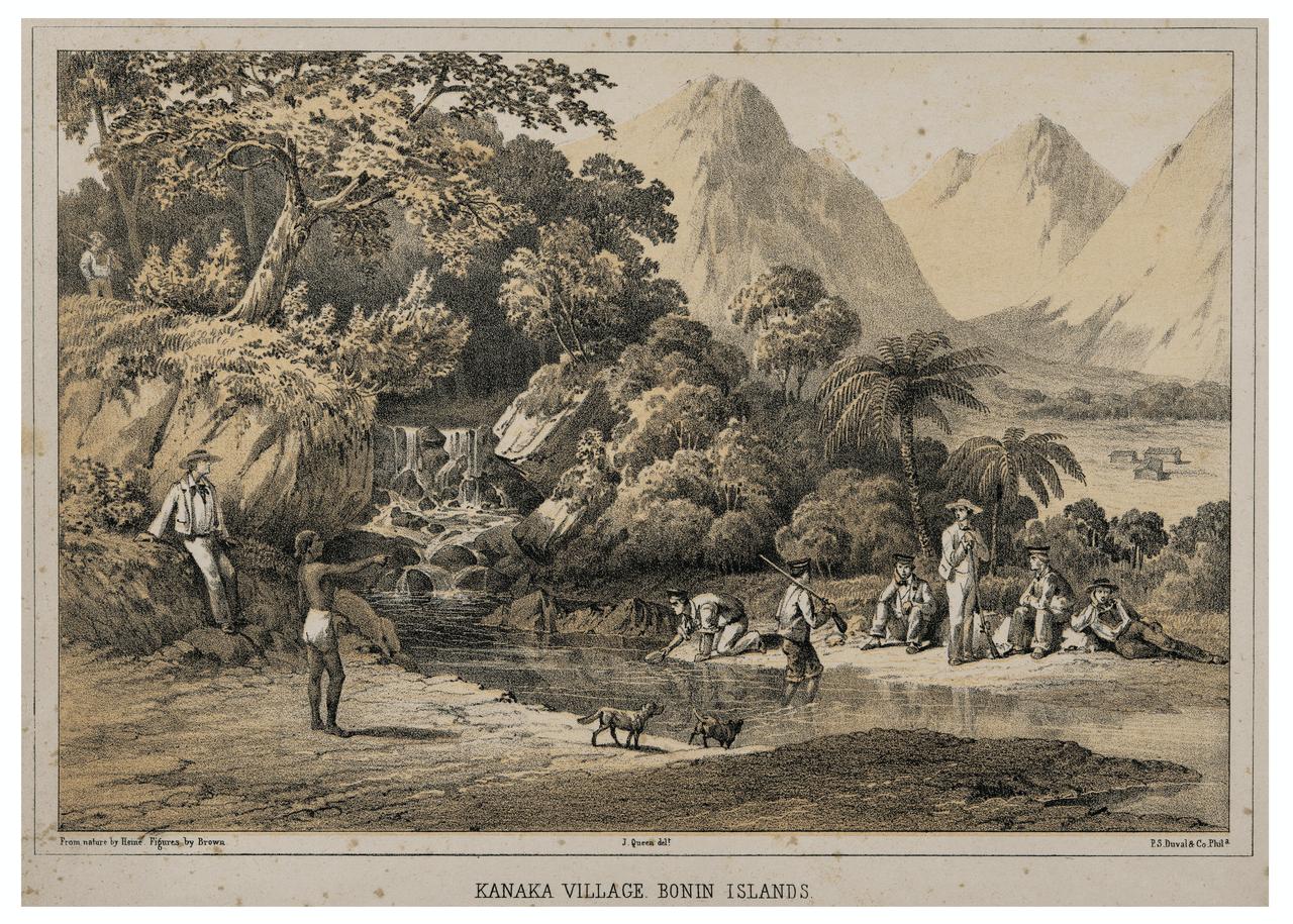 Kanaka Village Bonin islands Antique Print