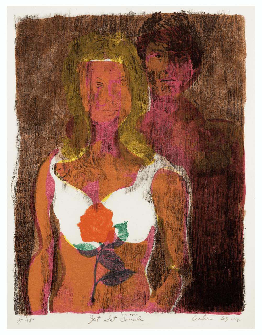 "A Vintage Intaglio Etching Print ""Jet Set Couple"" By Luben Dimanov 1969"