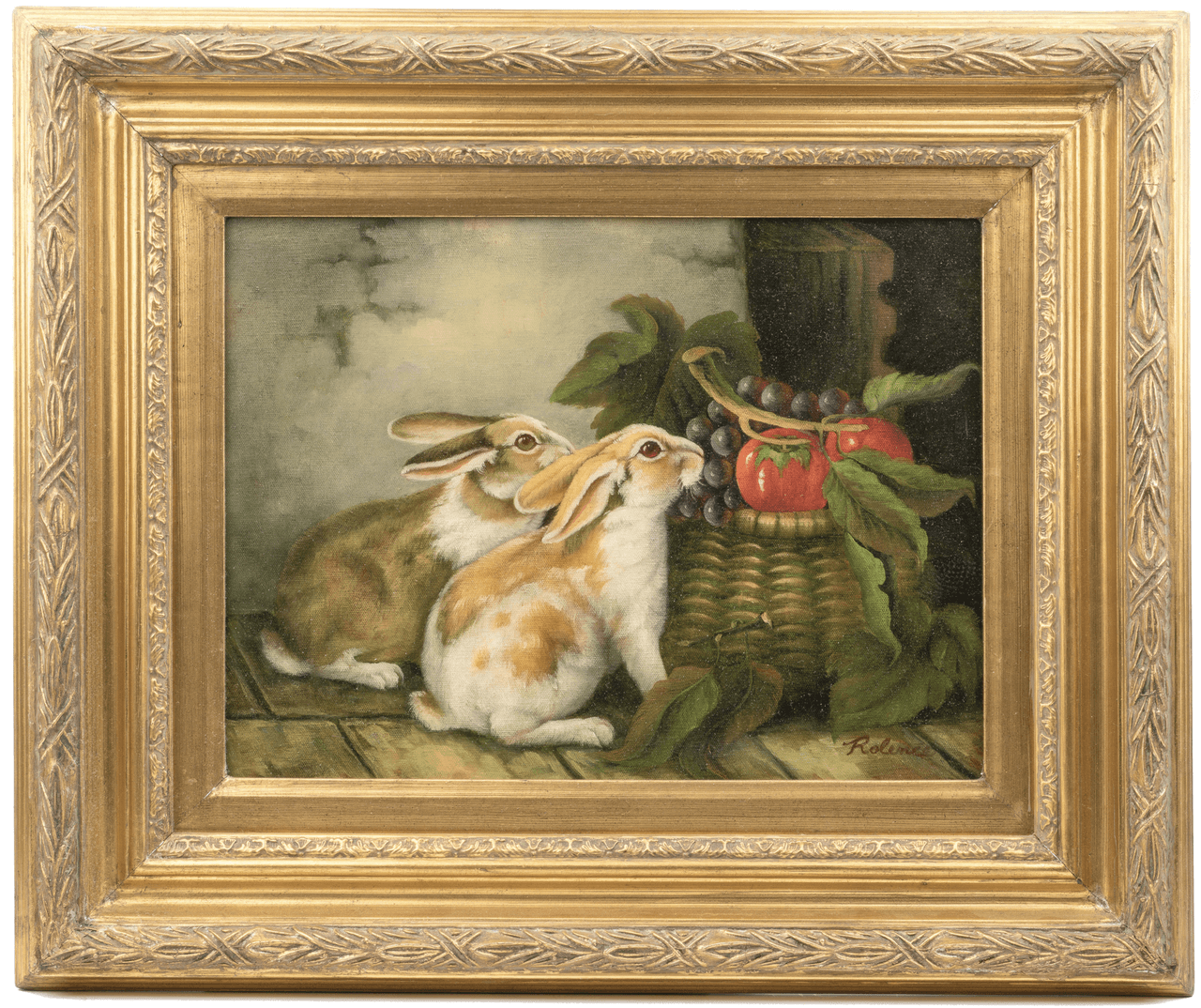 A 20th Century English Still Life Oil Painting Of Rabbits In the Manner of Alfred Richardson Barber
