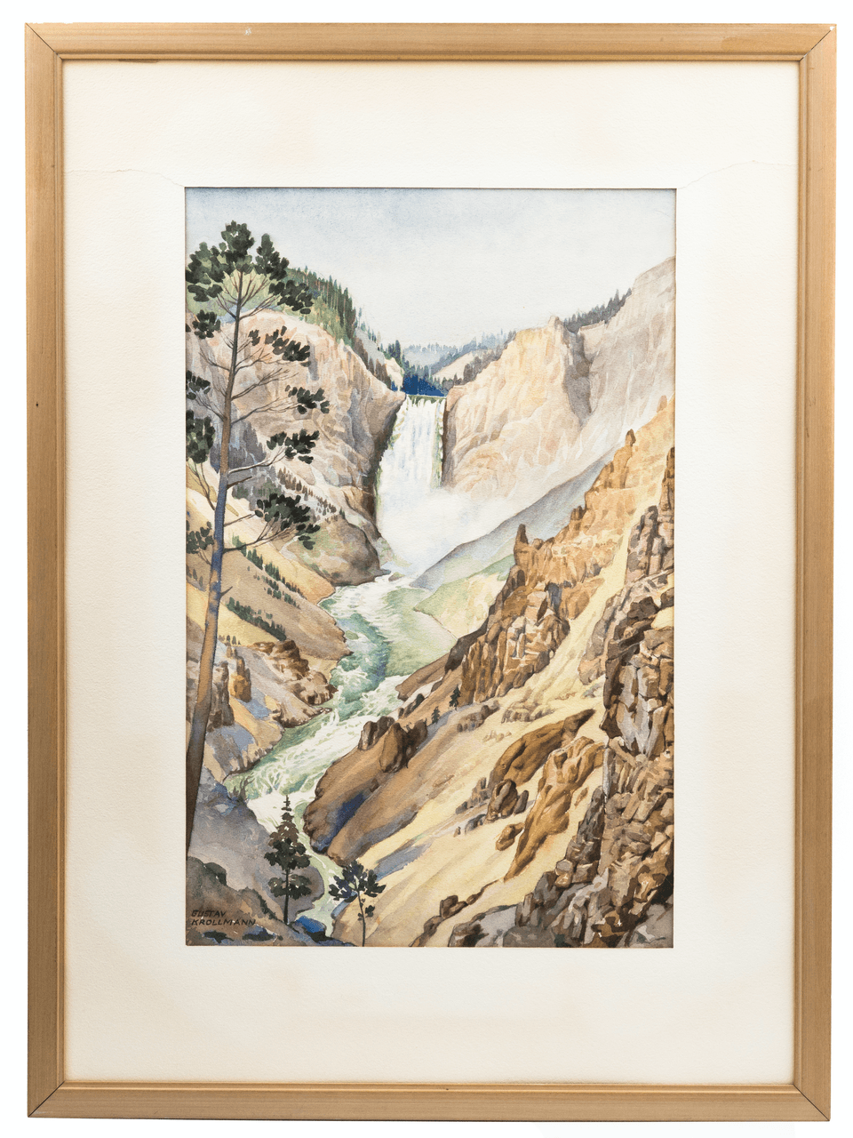 An Original Signed Watercolor By Gustav Krollman 1888-1962