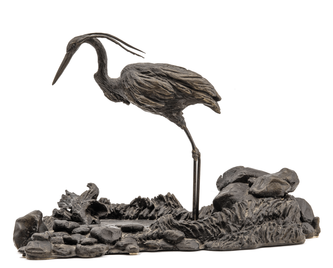 A Patinated Bronze Sculpture Of A Fishing Heron By Don Ditto