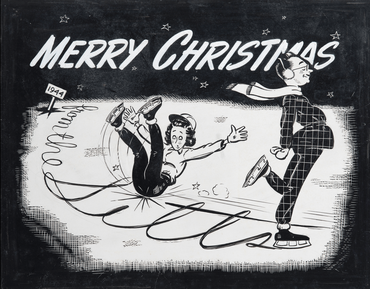 A Vintage 1944 WPA End Era Merry Christmas Illustration Drawing