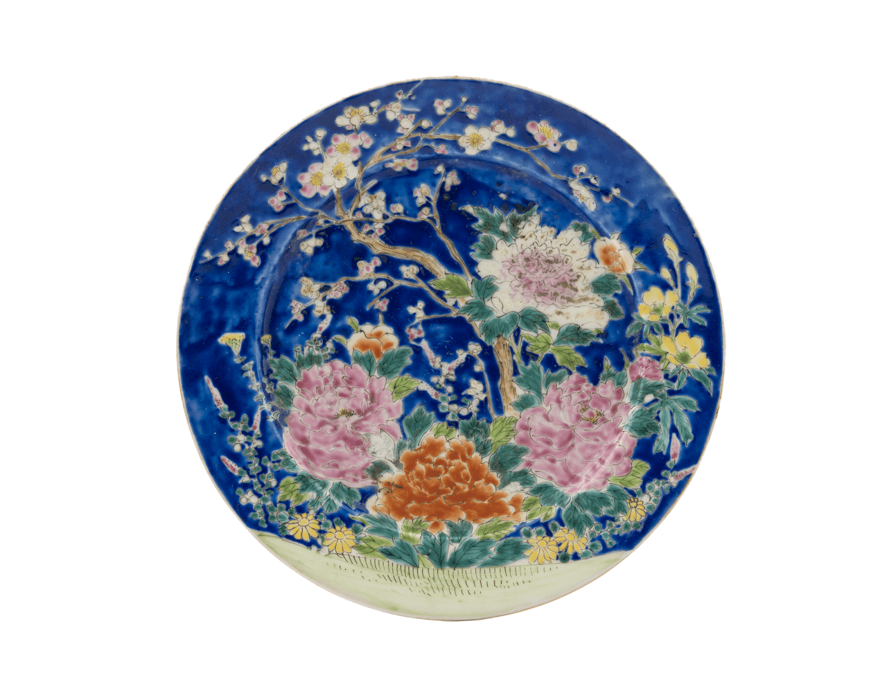 An Antique Chinese Famille Decorated Blue Ground Plate