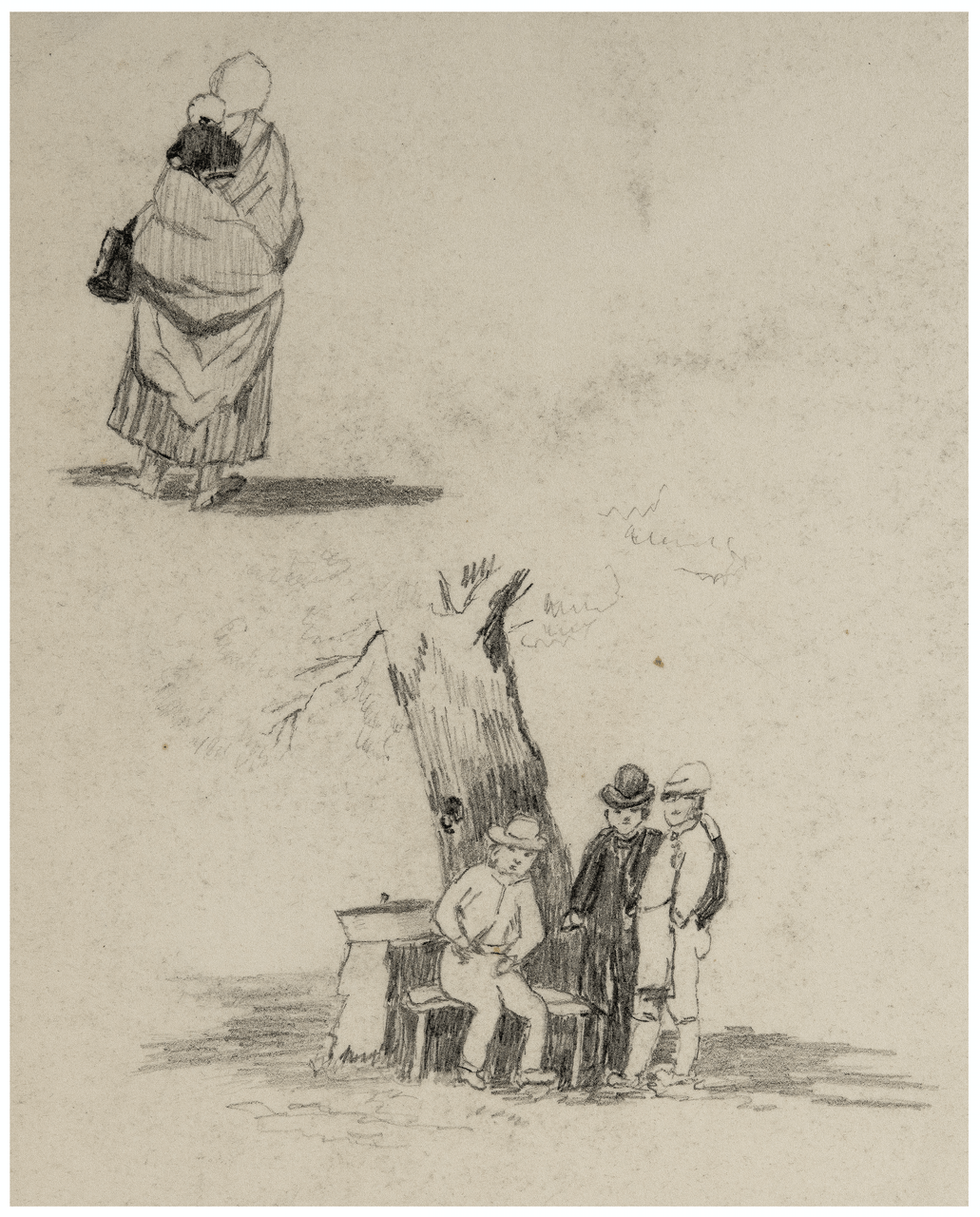 A 19th Century English Sketch of Three Lads