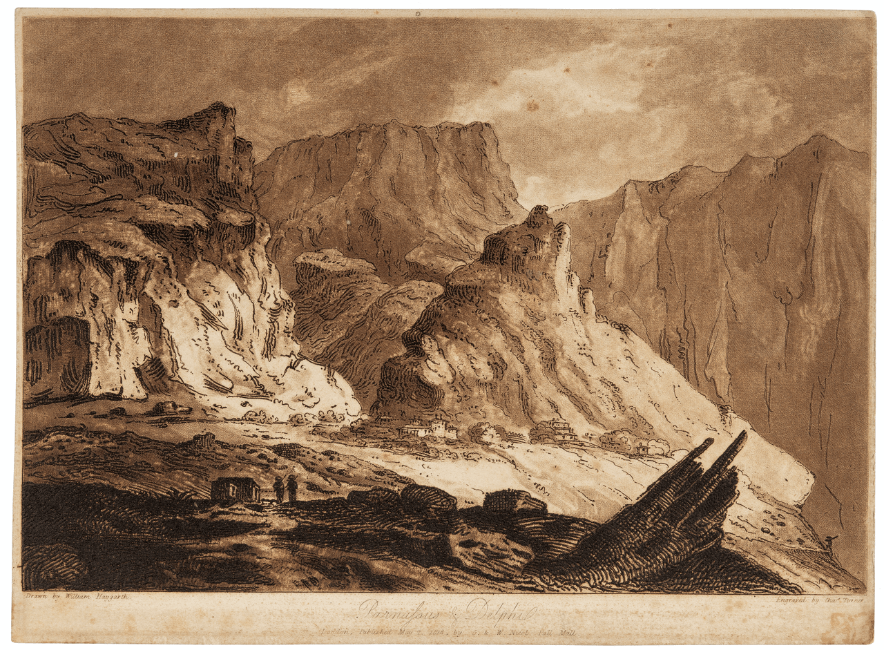 An Antique Print Lithograph Of Parnassus & Delphi 1814 By William Haygraph