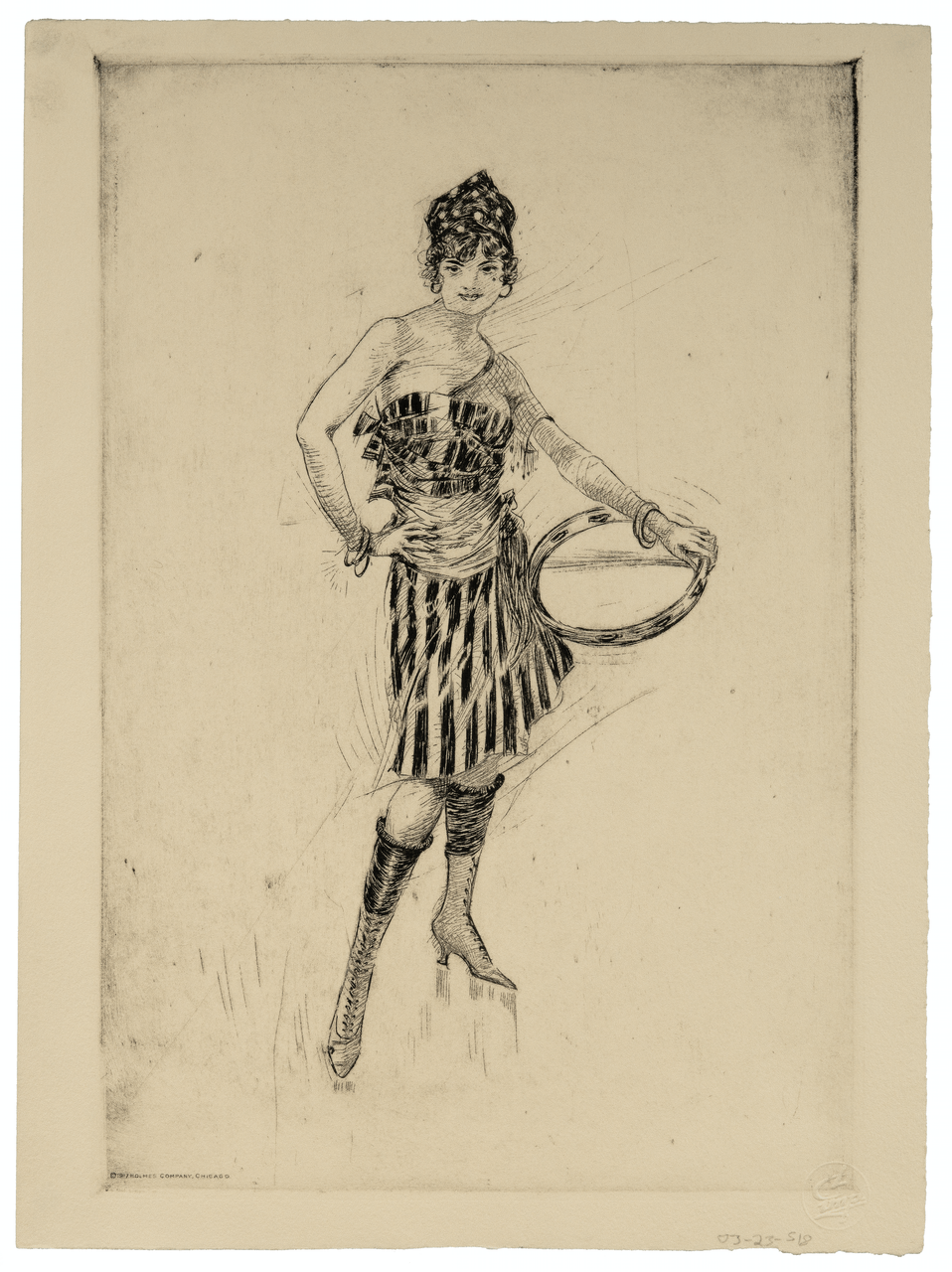 Guy B. Holmes Etching, 1917 Holmes Company Chicago Etching Of A Lady