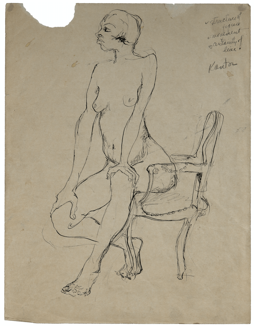 An Ink Drawing Study Sketch By Morris Kantor 1896-1974