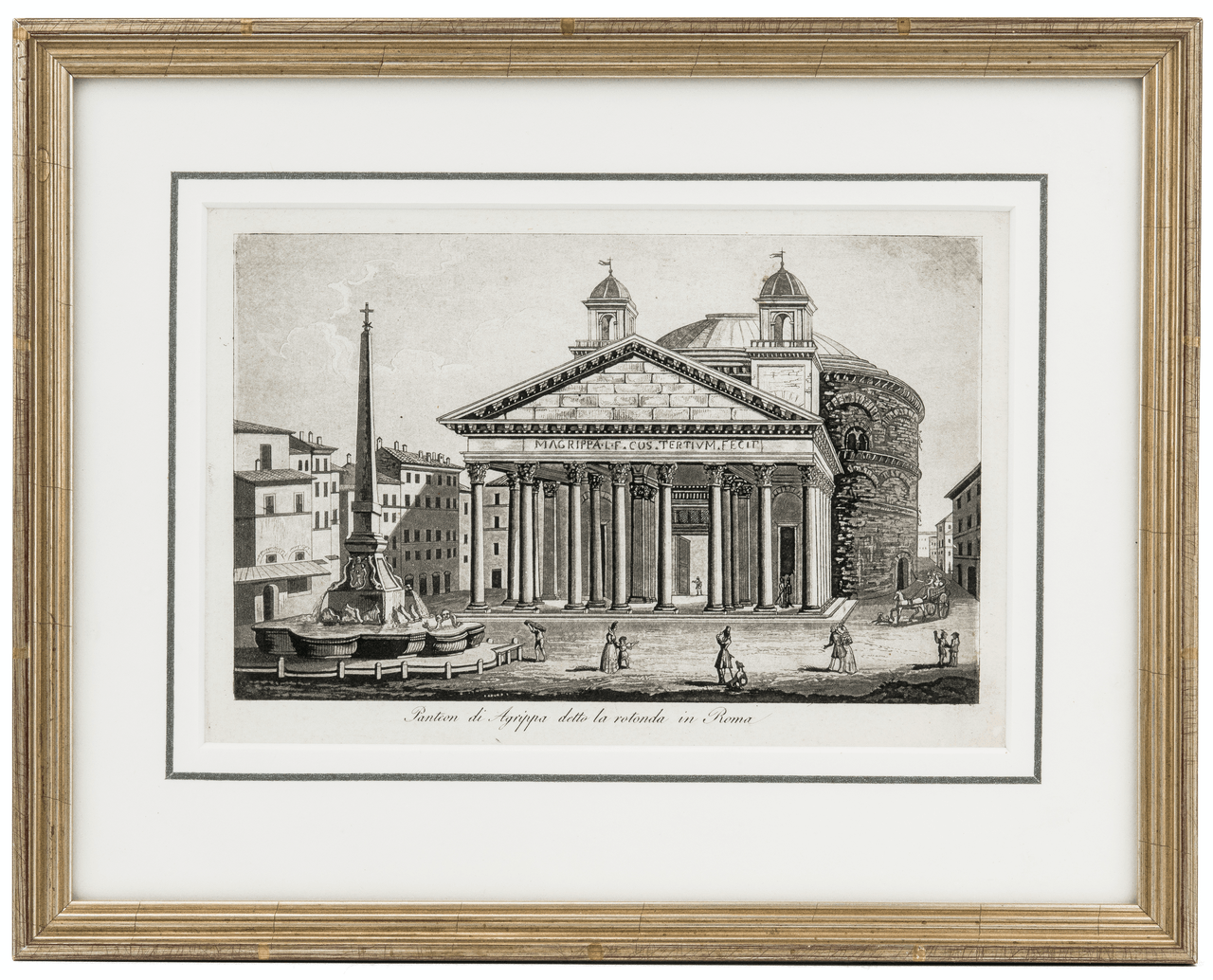 An Antique Framed Print Of The Pantheon Rome, Italy By Antonio Lazzarini