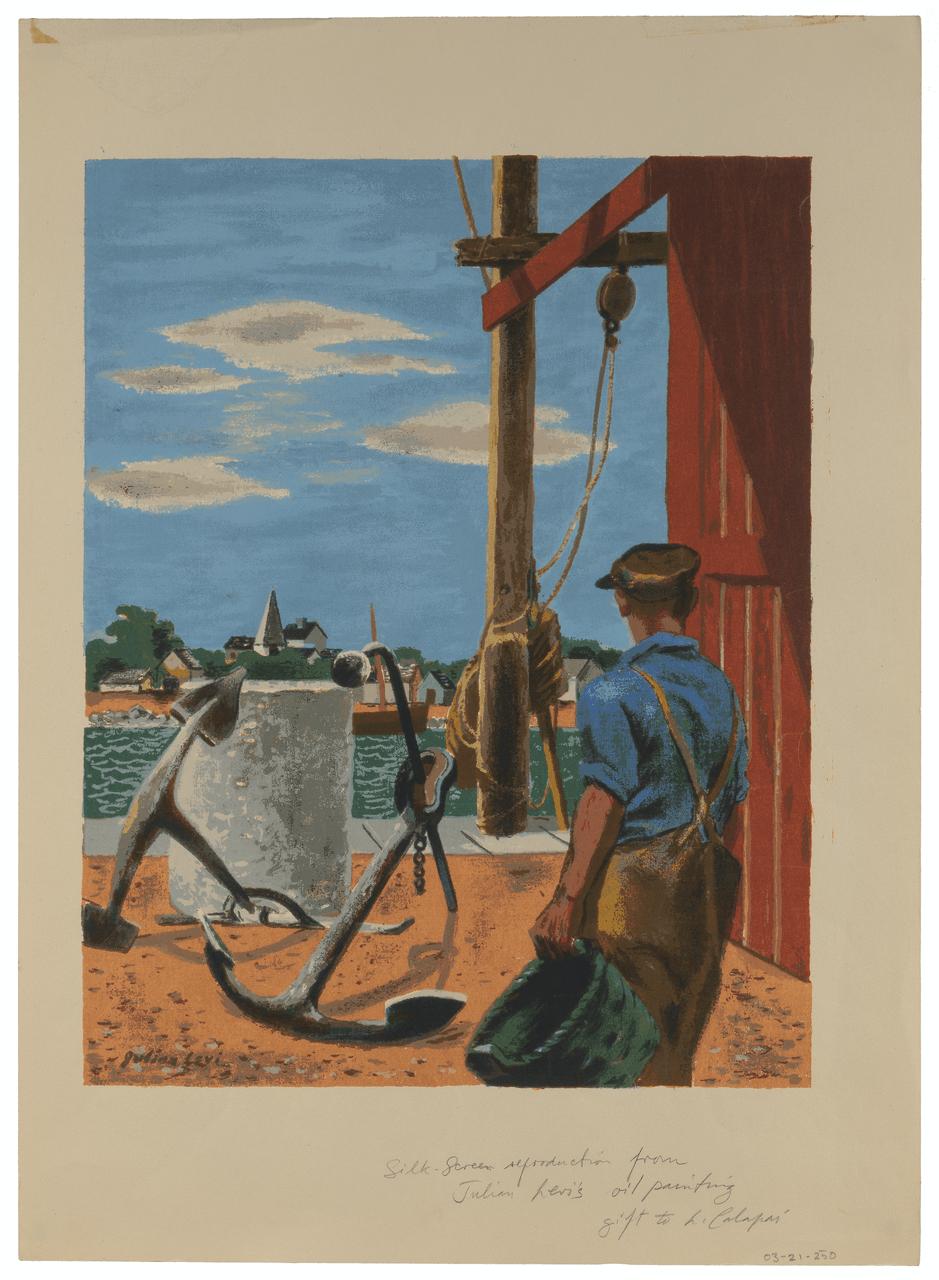 A Julian Levi Silk Screen Print, Maritime Scene