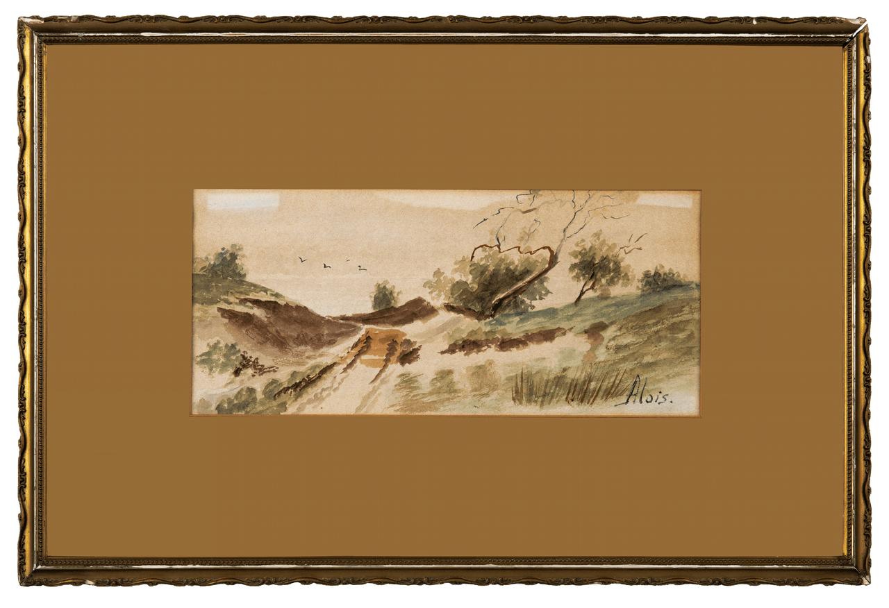 A Gilt Framed Antique Landscape Watercolor Painting Signed Alois