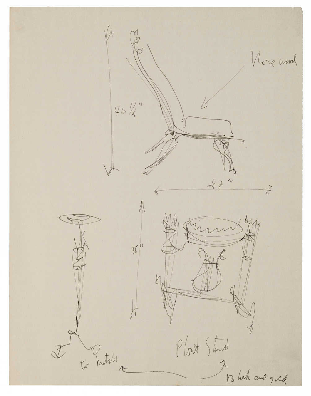 An Interior Design Sketch By Raoul Du Bois