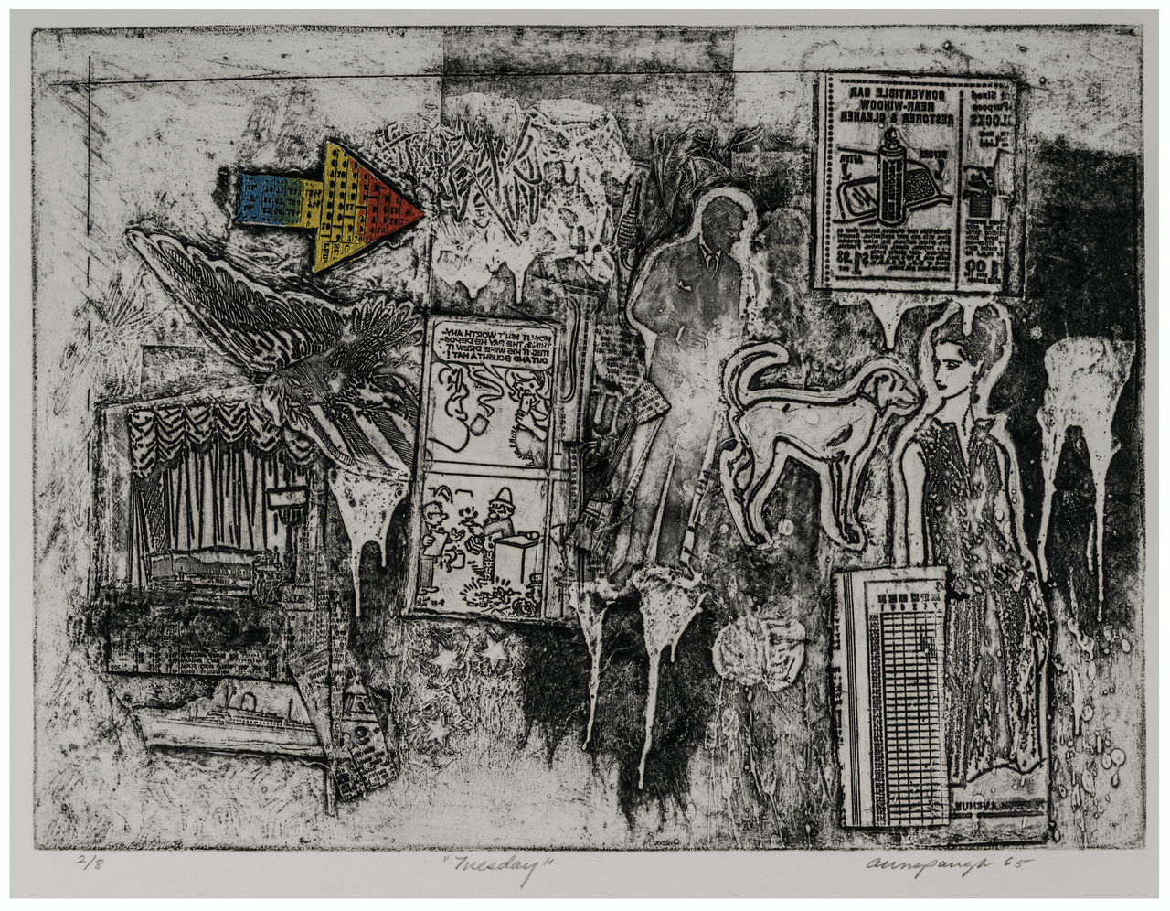 "Vintage Weekend Series Intaglio Print Etching ""Tuesday"" By Richard Aunspaugh 65'"