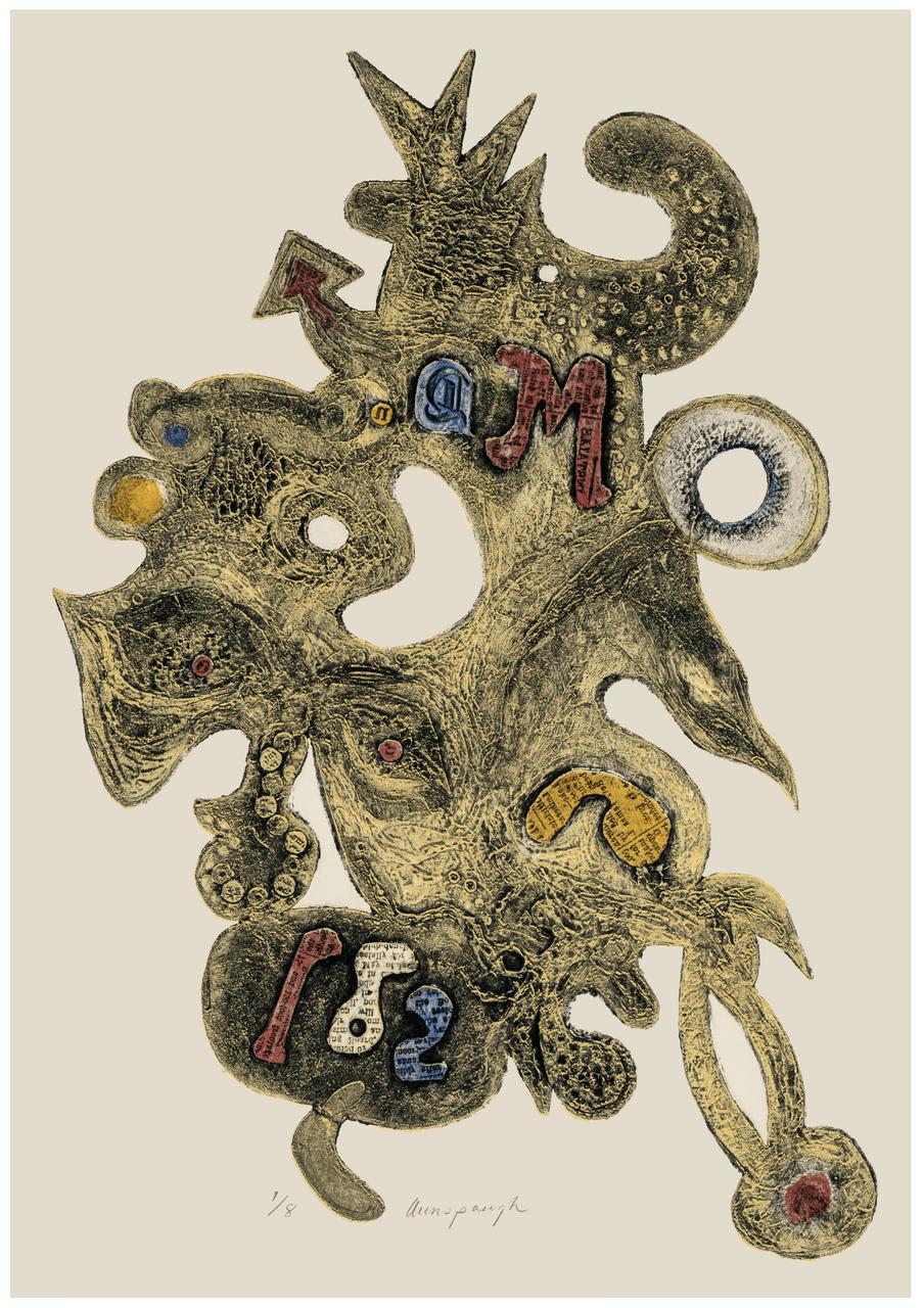 A Vintage Signed Intaglio Print Signed Aunspaugh