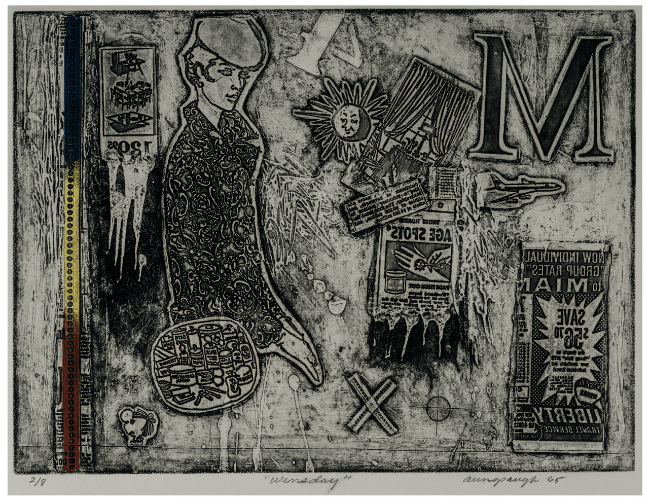 "Vintage Weekend Series Intaglio Print Etching ""Wednesday"" By Richard Aunspaugh 65'"
