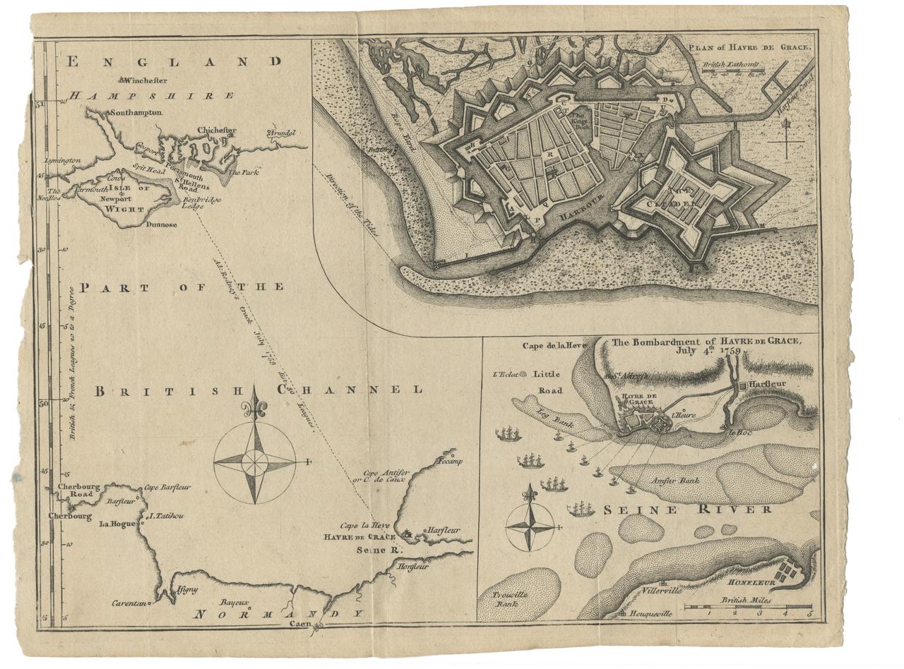 Havre De Grace & British Chanel Map Dated July 4, 1759 Antique War Map