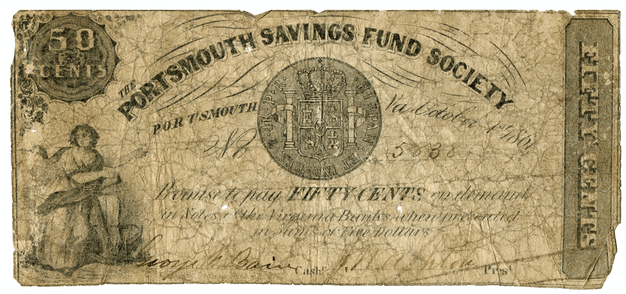 The Portsmouth Savings Fund Society 50 Cent Note Antique Rare Currency U.S.