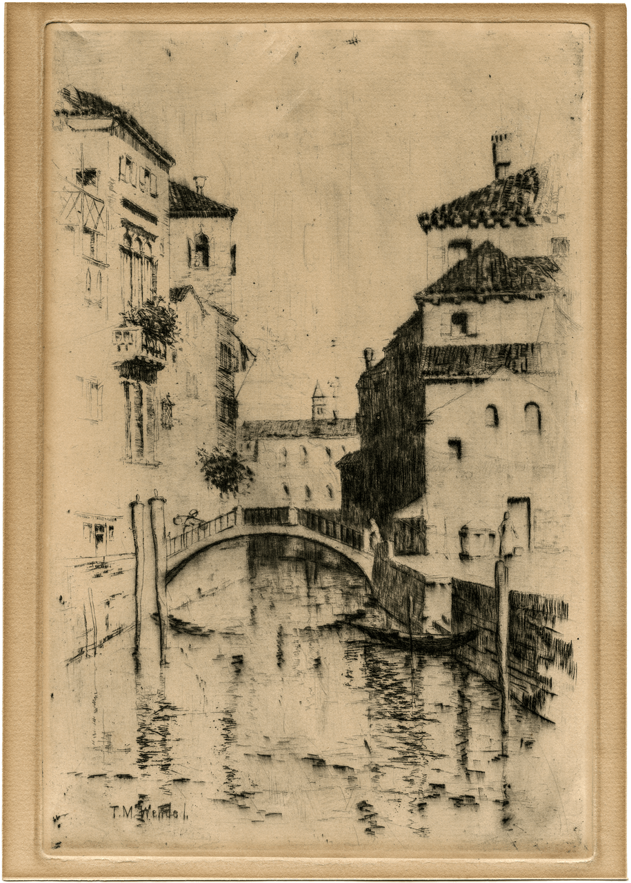 An Antique Print Intaglio Etching Of Venice Signed T.M. Wendel